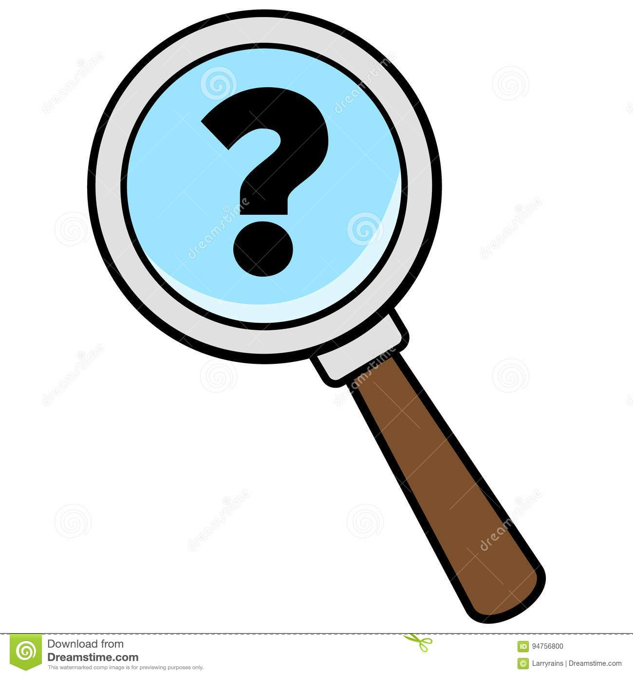3d person with magnifying glass and question mark stock images image - Glass Illustration Magnifying Mark Question