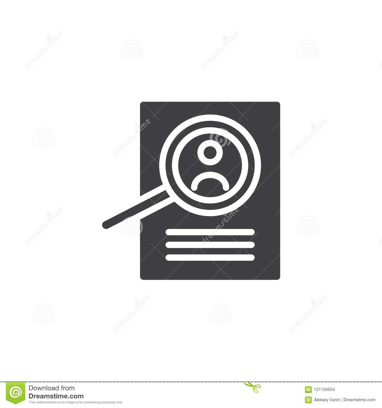 Magnifying Glass And Resume Vector Icon Stock Vector - Illustration ...
