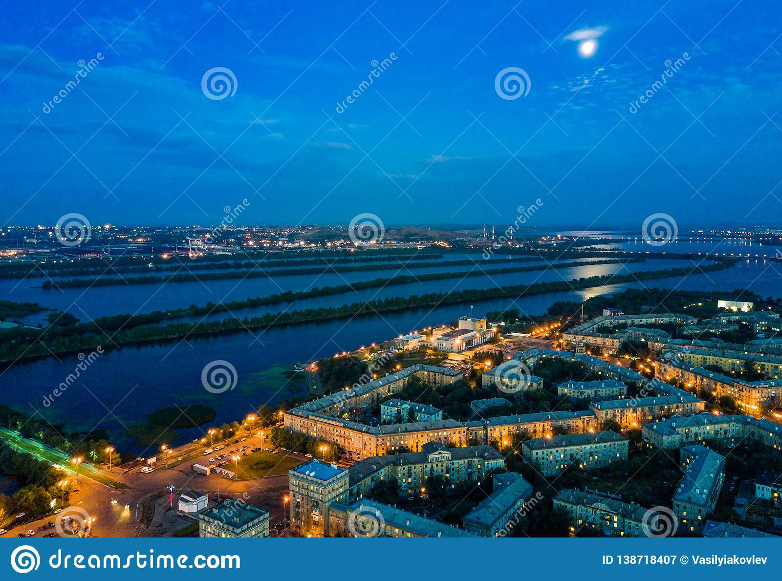 Aerial view of night Magnitogorsk, russian industrial city