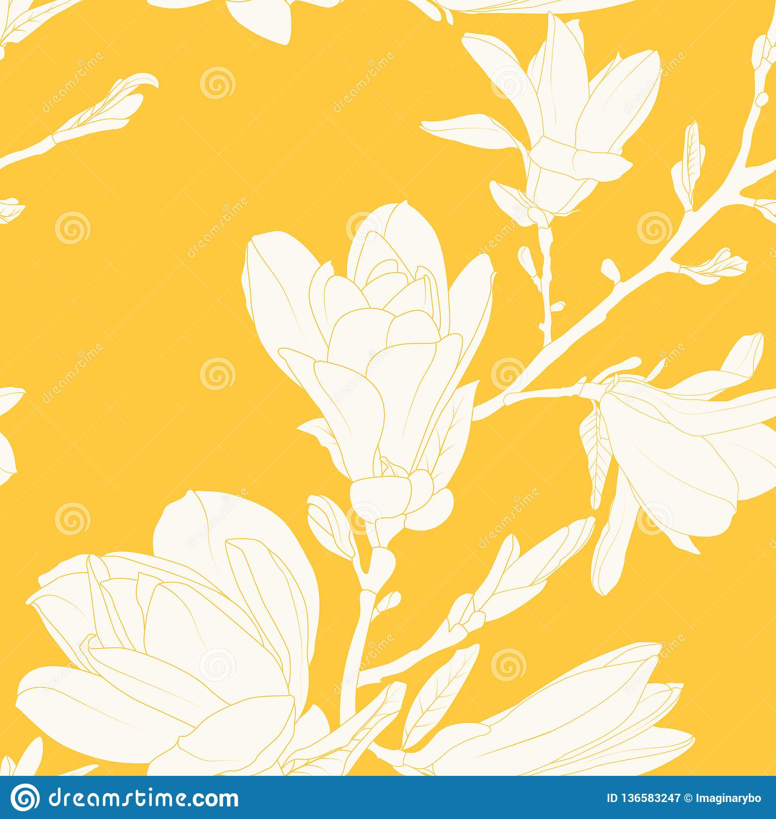 Magnolia Flowers Leaves Tree Branch Seamless Pattern Texture White
