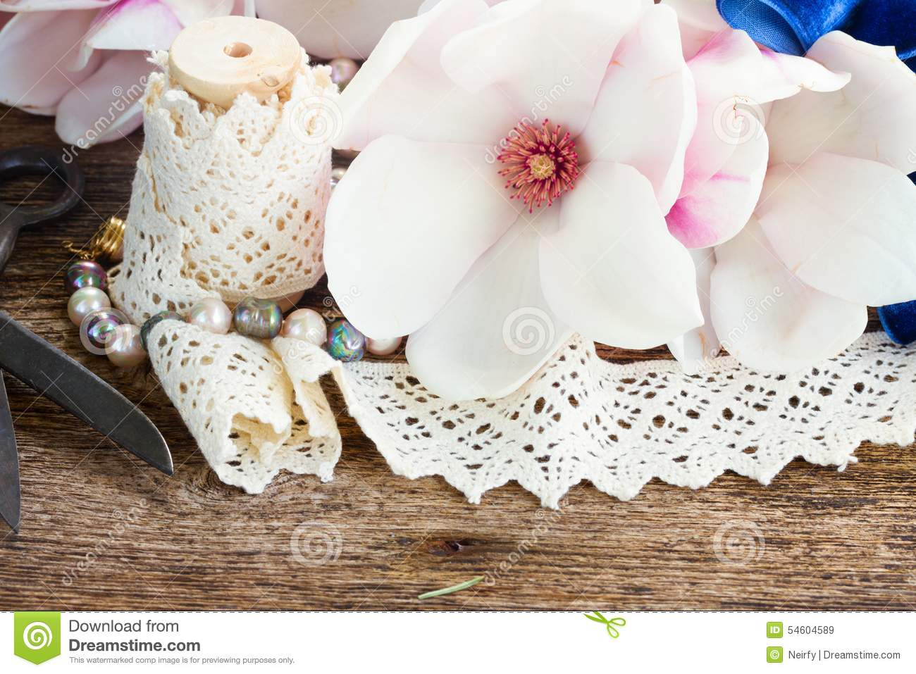 Magnolia Flowers With Pearls On Wooden Table Stock Image Image Of