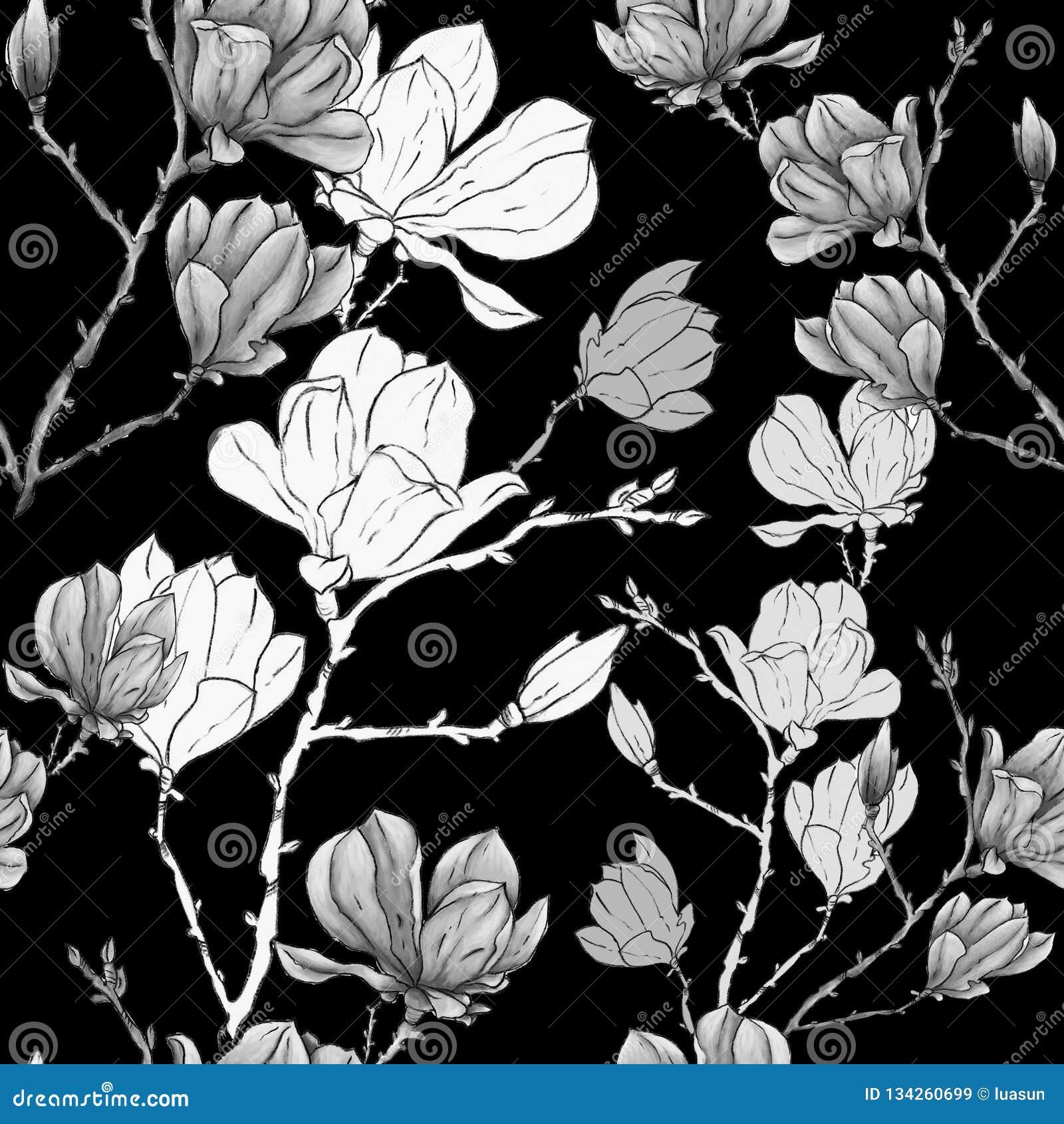 Magnolii lub sacura kwiatu ręki rysunkowy pastelowy bezszwowy wzór