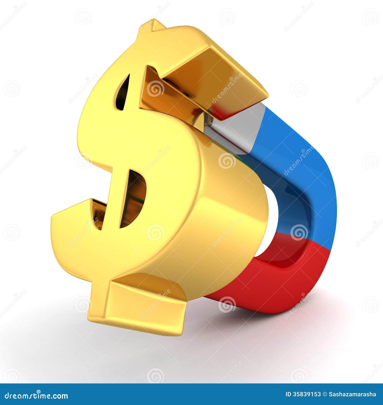 Magnt Attract Money Golden Dollar Symbol Concept Stock Illustration