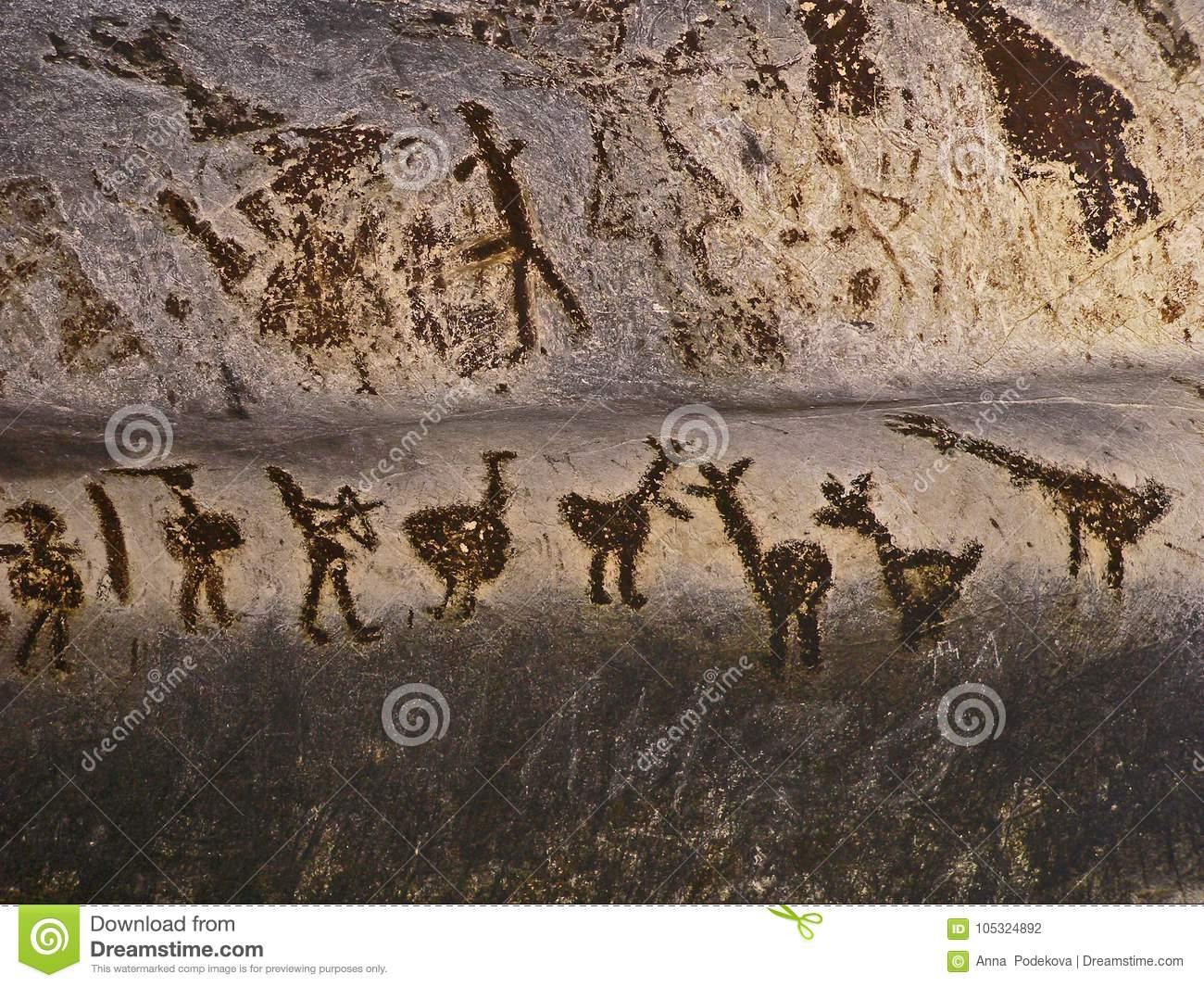 Magura Cave in Bulgaria. Prehistoric wall paintings drawings with bat guano.