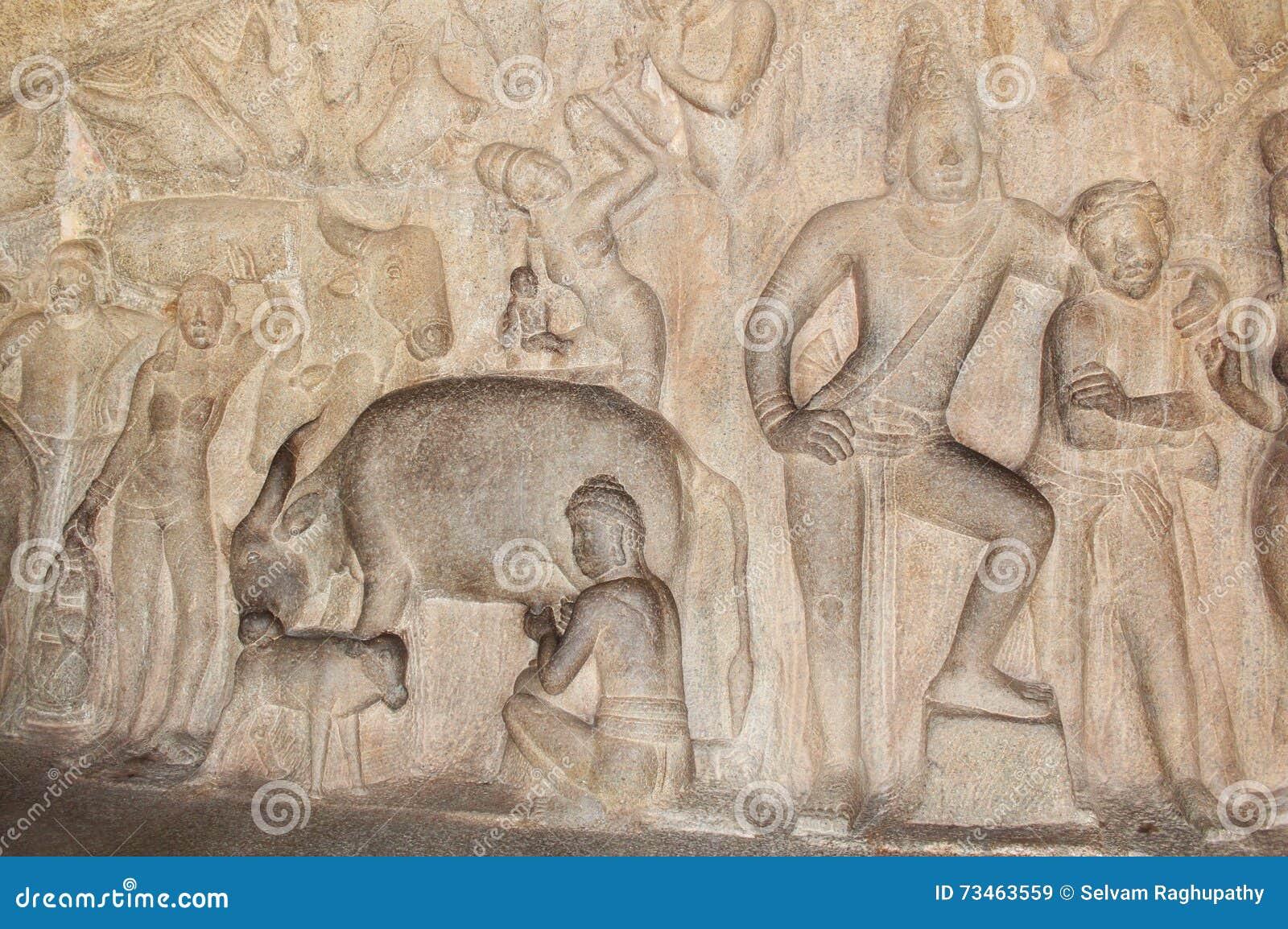 Mahabalipuram Cave Sculpture Stock Image - Image of culture