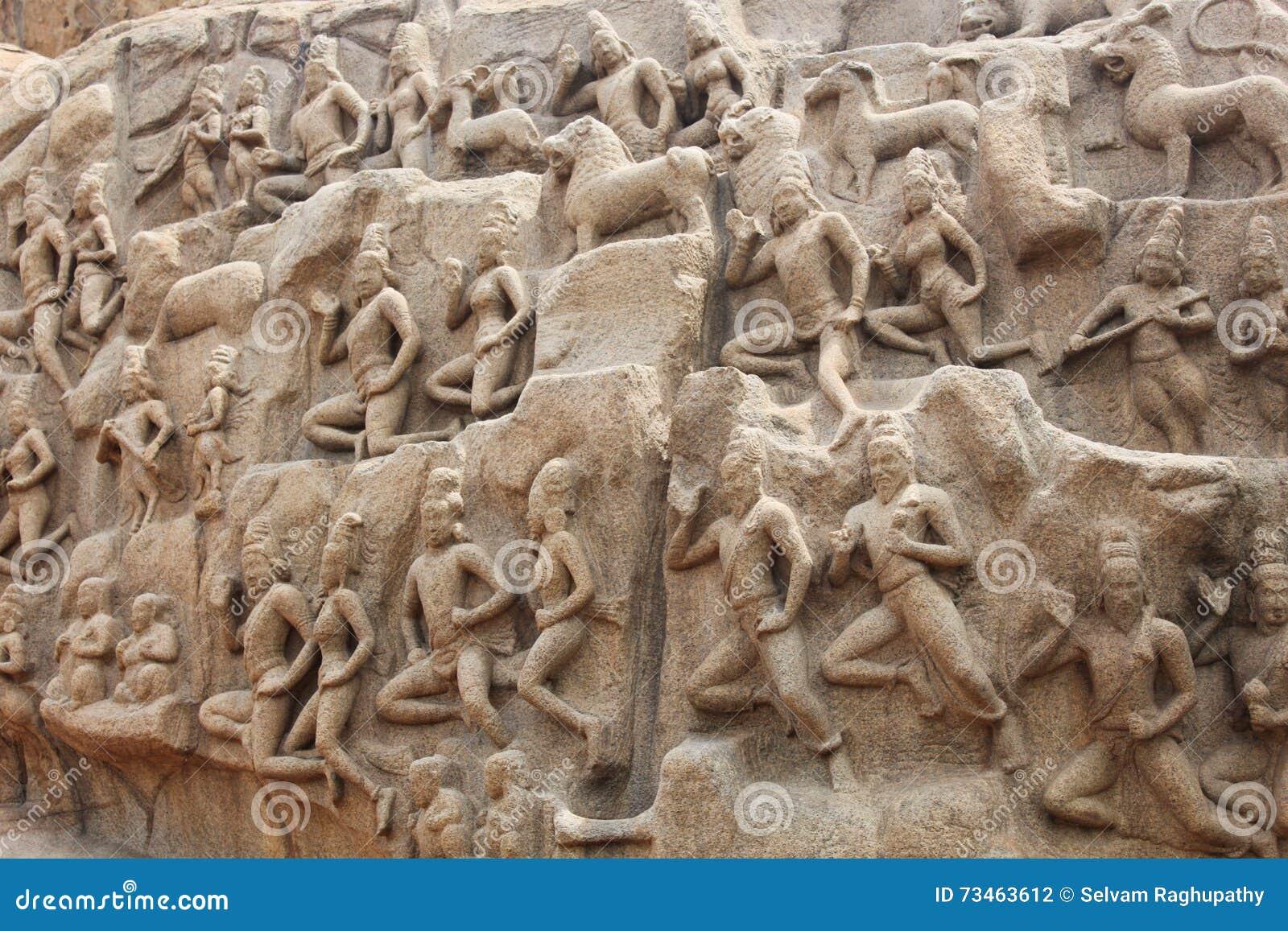 Mahabalipuram Cave Sculpture Stock Photo - Image of ancient