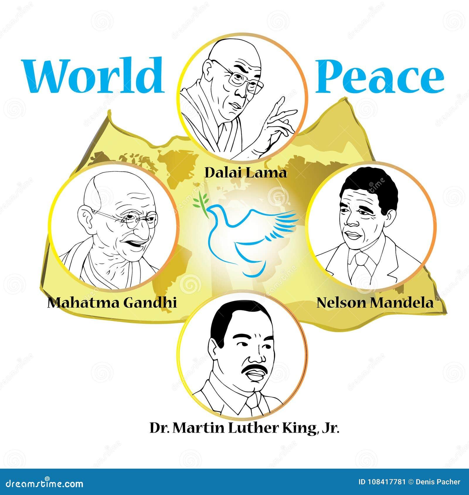 Mahatam Gandhi, Dalai Lama, Nelson Mandela, Martin Luther King