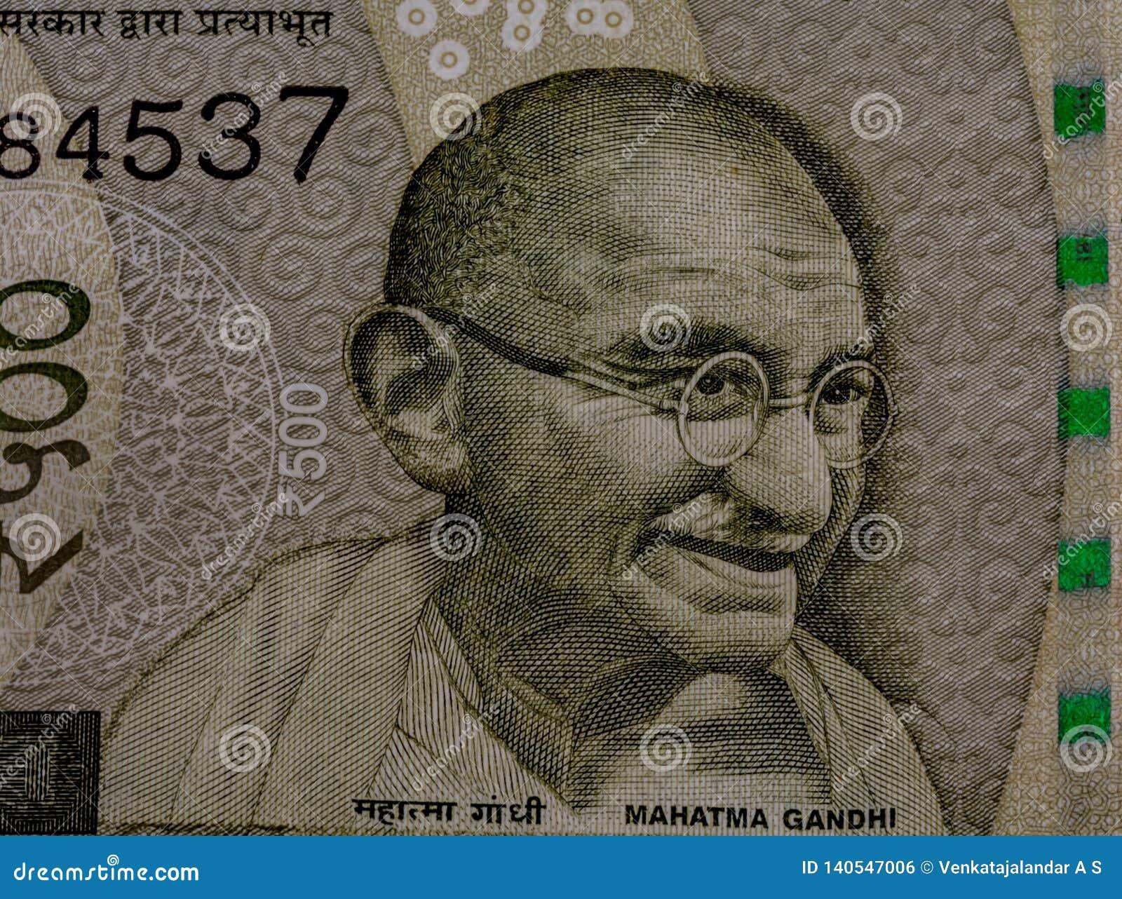Mahatma Gandhi en la nota de 500 rupias