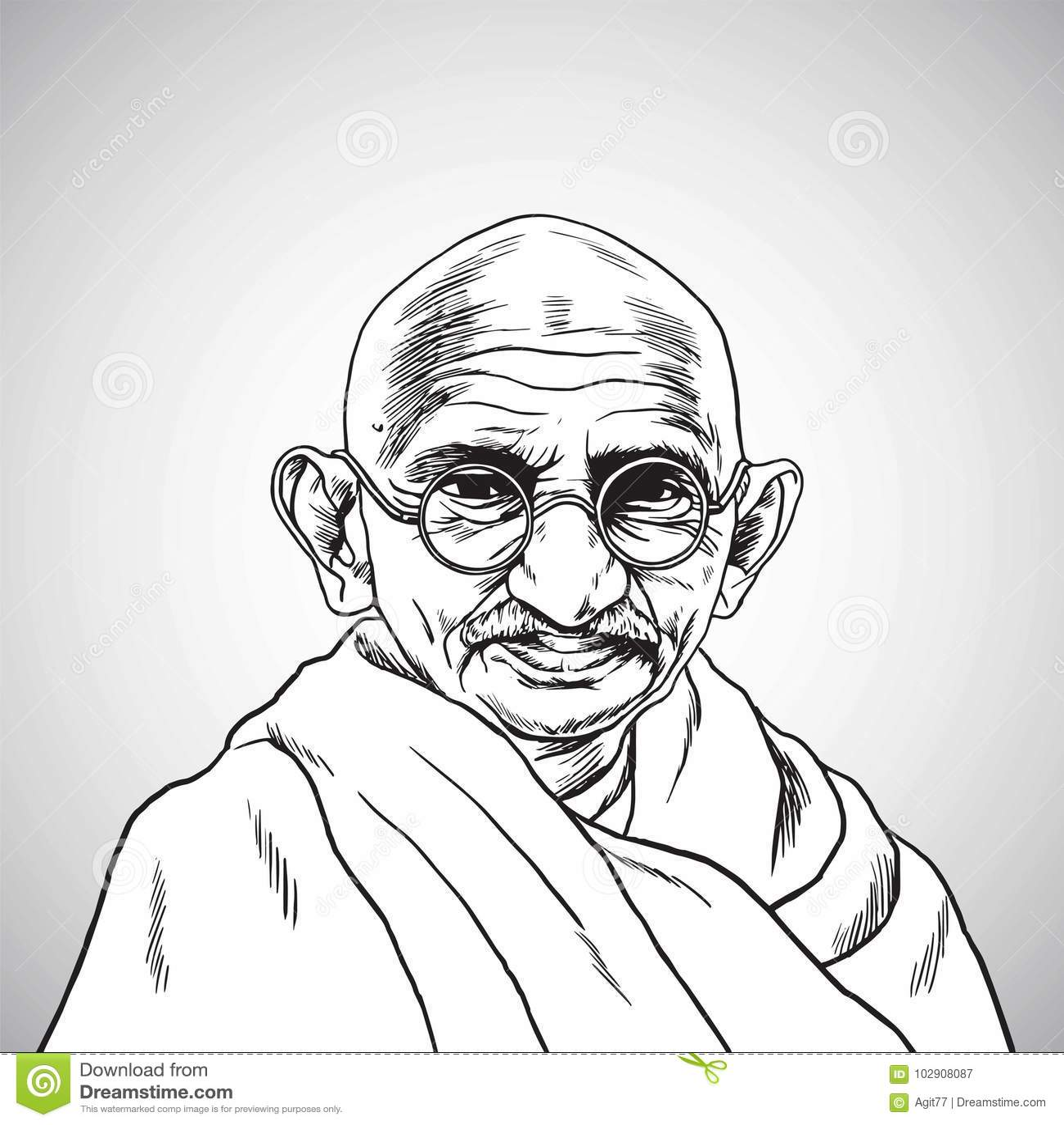 Mahatma gandhi vector portrait drawing illustration october 31 2017
