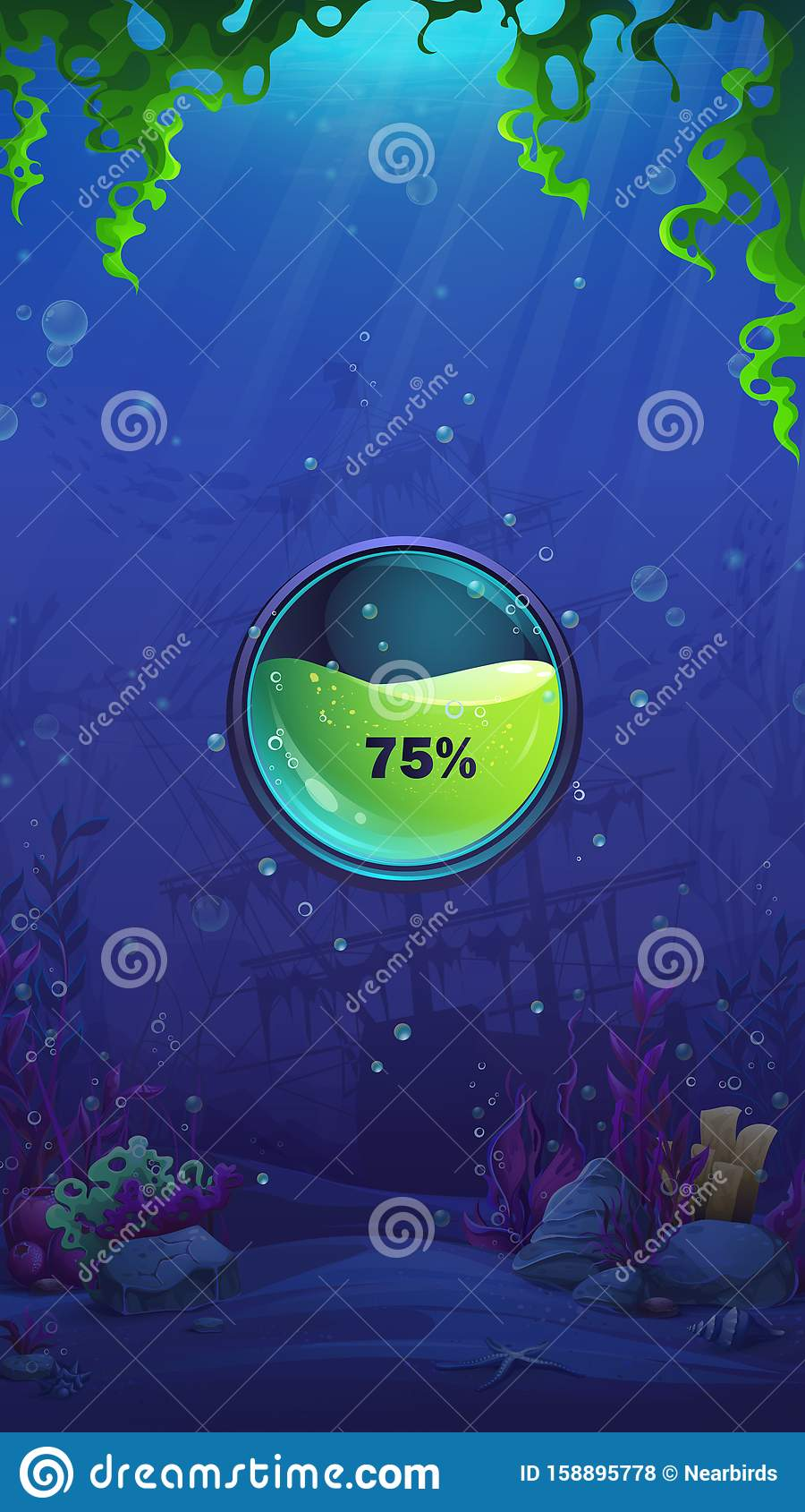 Mahjong Fish World Mobile Format Loading Screen Stock Vector Illustration Of Aquatic Nature 158895778