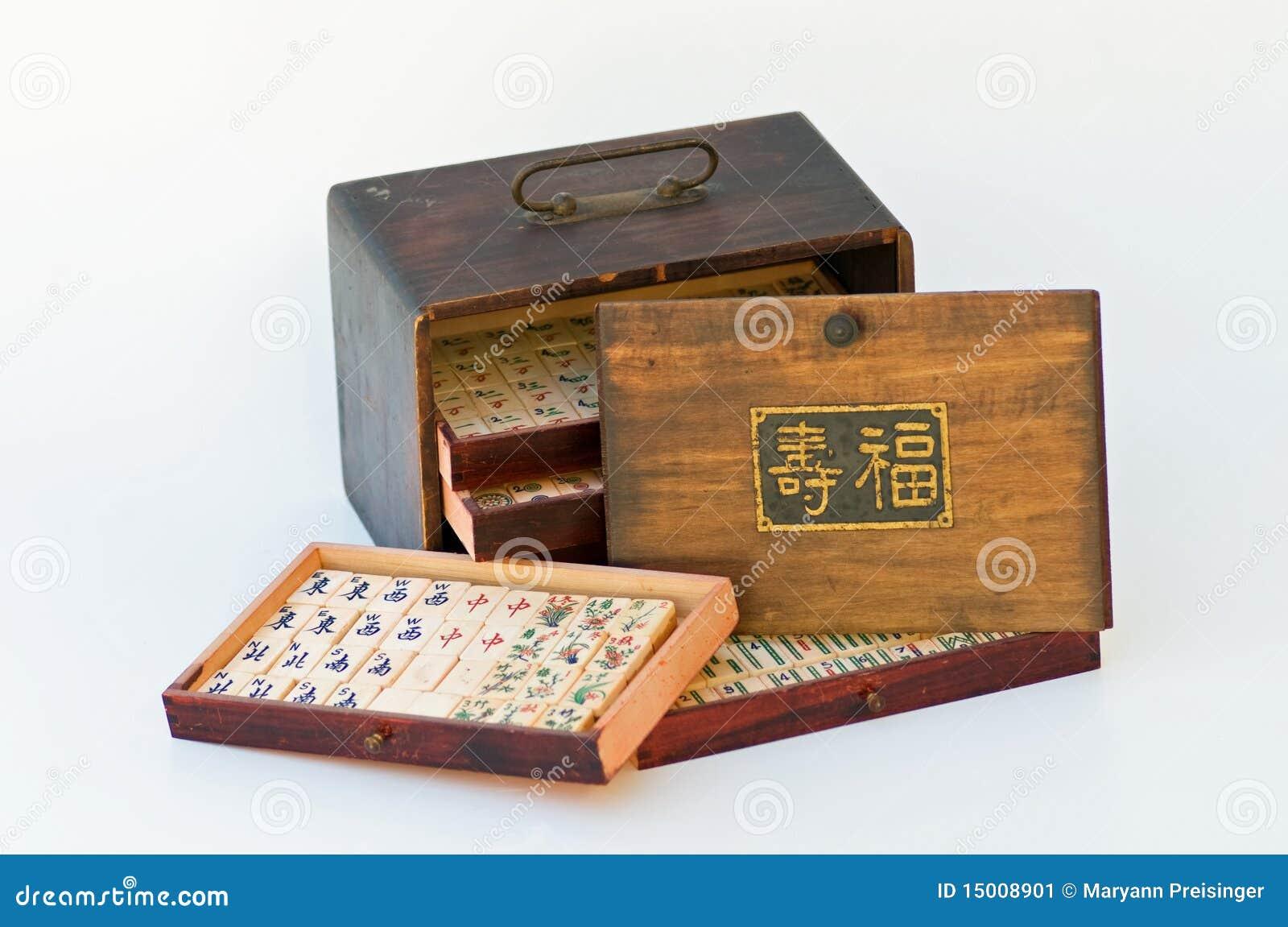Mahjong game tiles old wood box long life sign