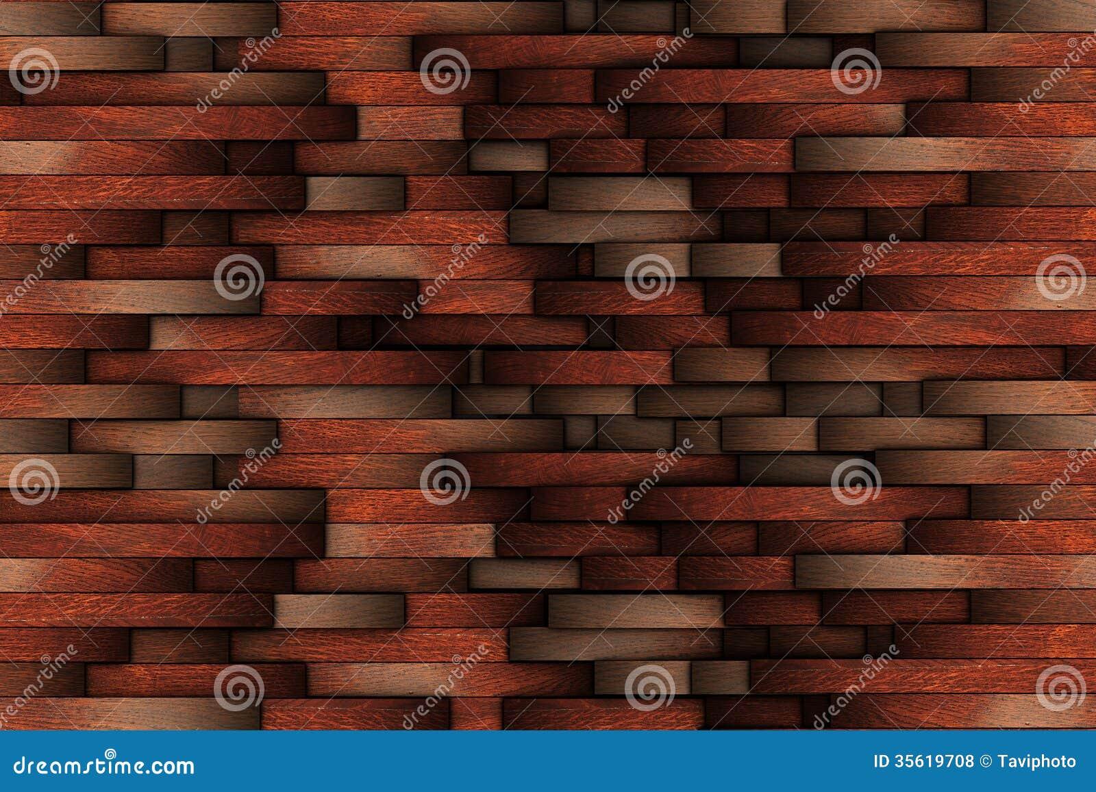 Mahogany Abstract Wooden Wall Design Royalty Free Stock