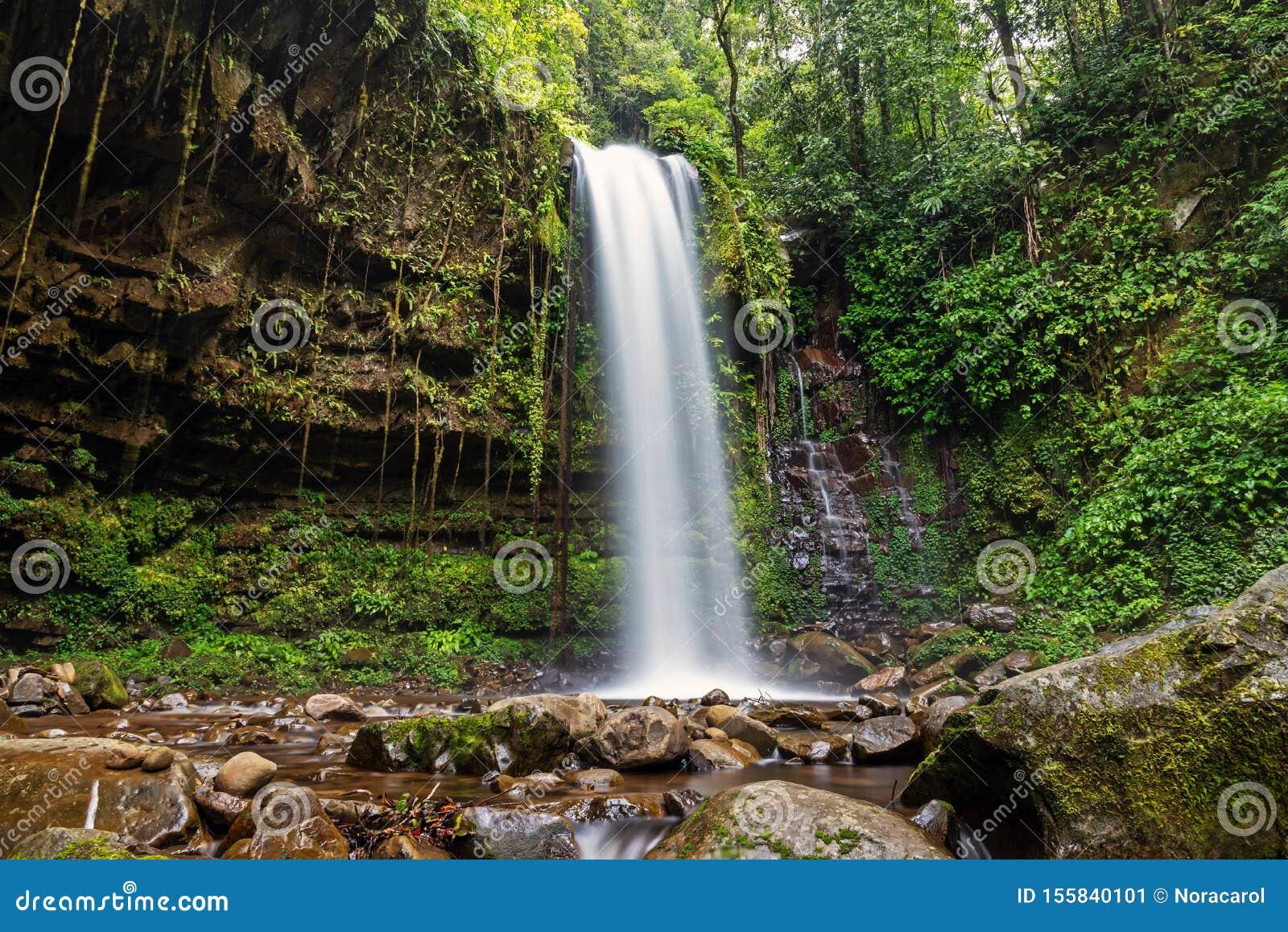 Mahua Waterfall In Crocker Range National Park Tambunan Stock Image Image Of Motion Landscape 155840101