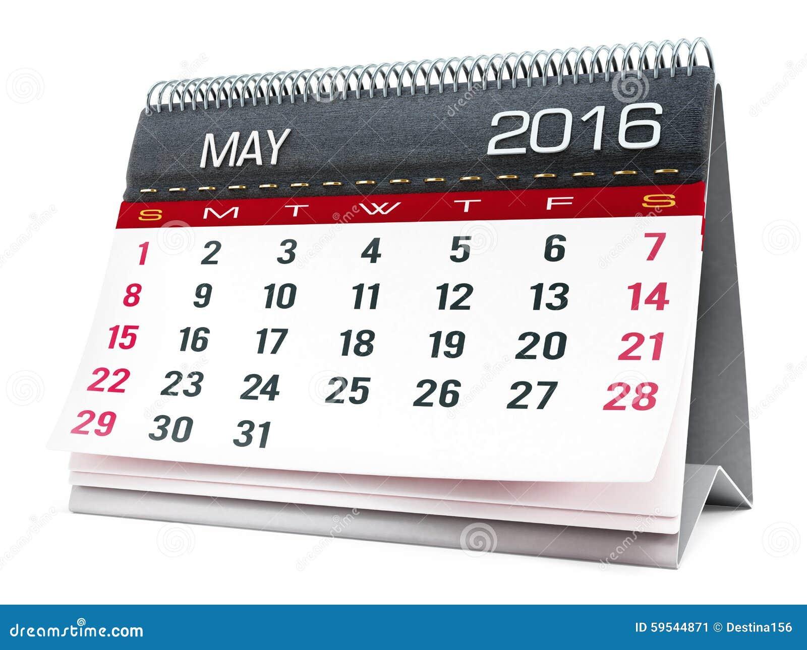 Mai 2016 Calendrier De Bureau Illustration Stock - Image: 59544871
