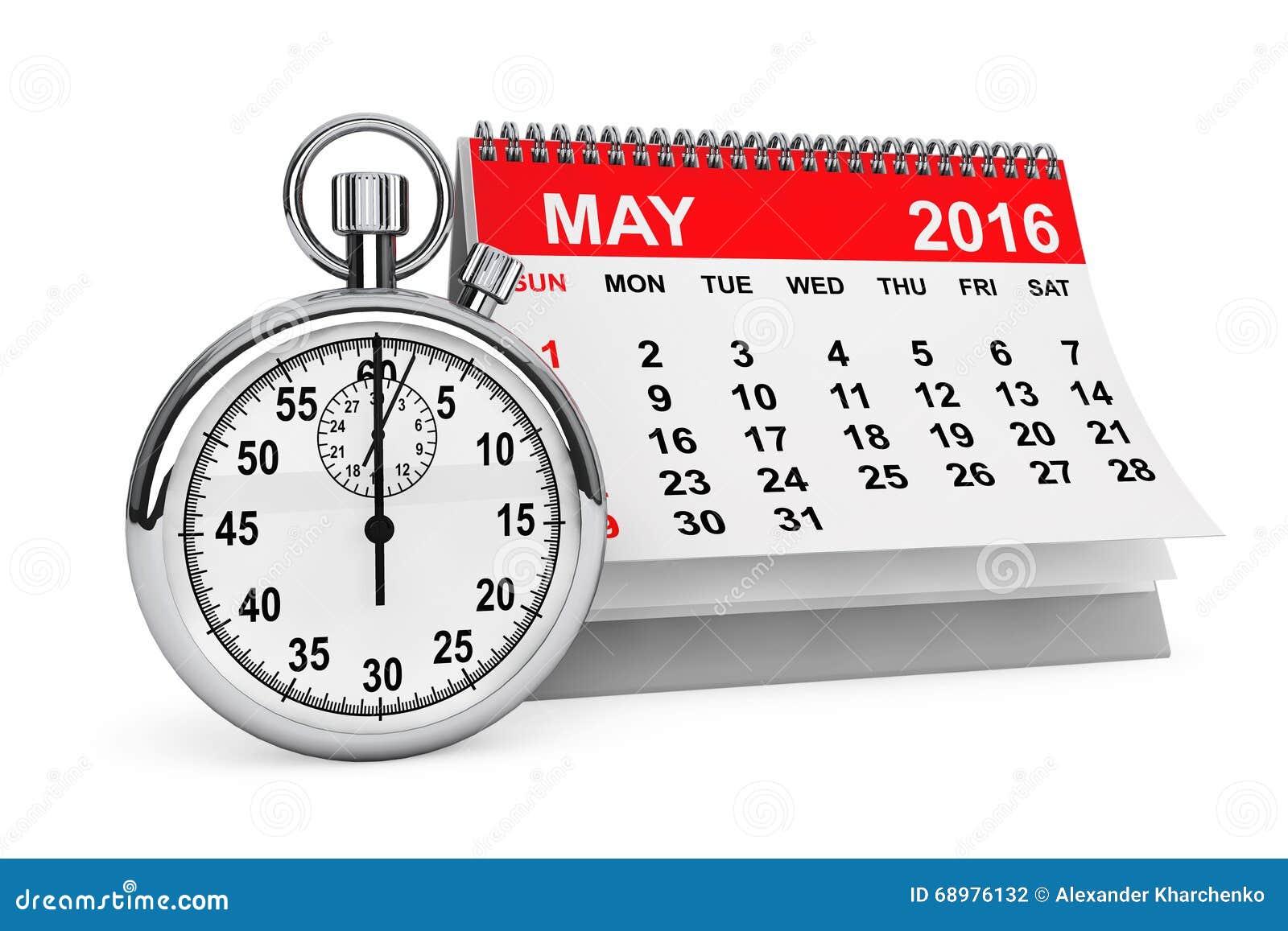 Mai 2016 Kalender mit Stoppuhr