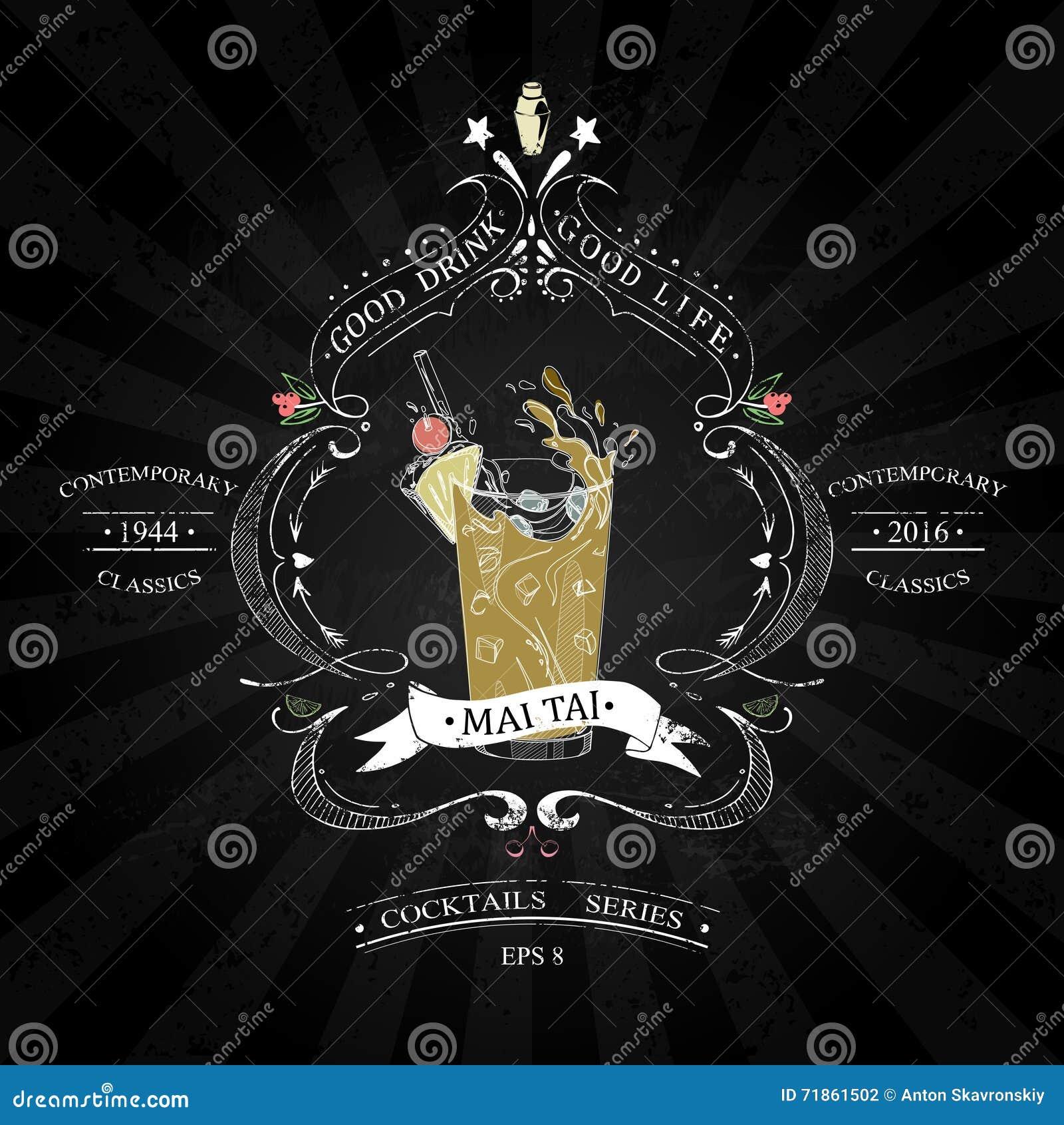 mai tai cocktail chalk vector illustration