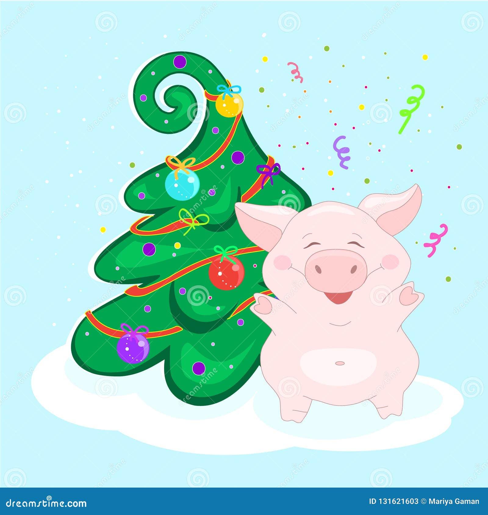 Immagini Divertenti Natale 2019.Maiale All Albero Di Natale Il Carattere Divertente E Felice