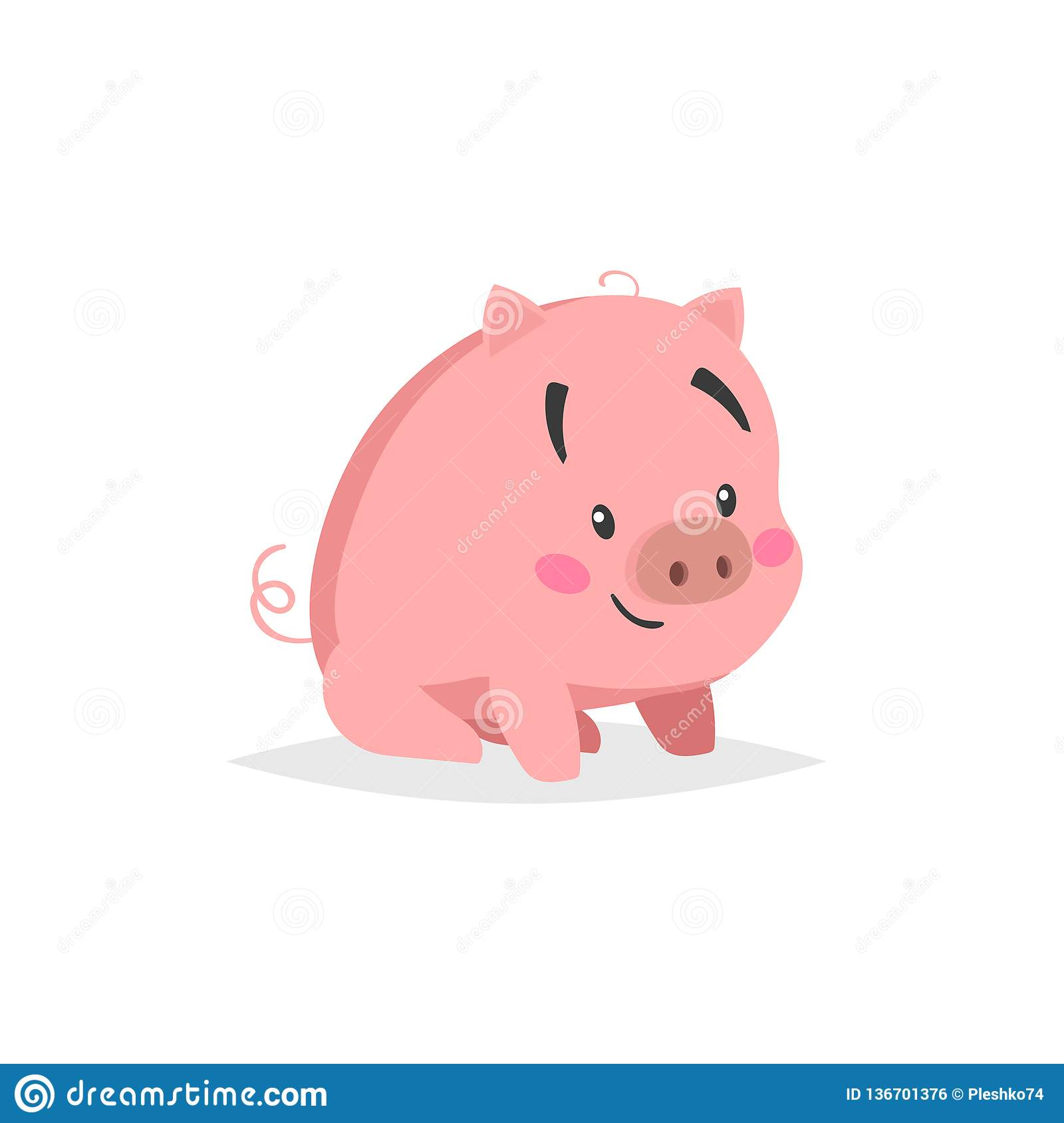 Maiale sveglio del fumetto Sitiing e piccolo porcellino sorridente con il fronte divertente Carattere di animale domestico Illust