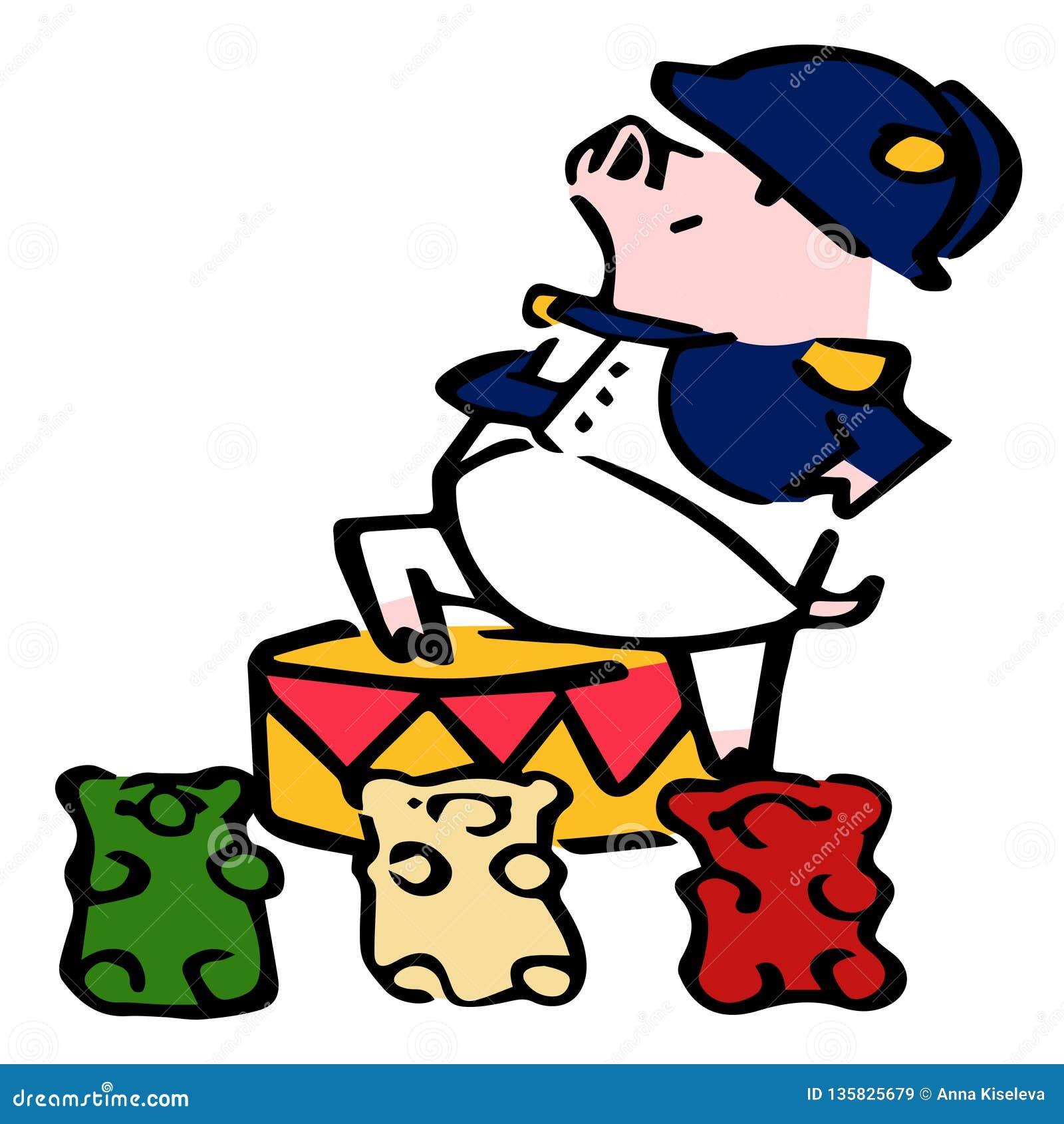 Maiale sveglio di millefoglie del fumetto di vettore con gli orsi gommosi