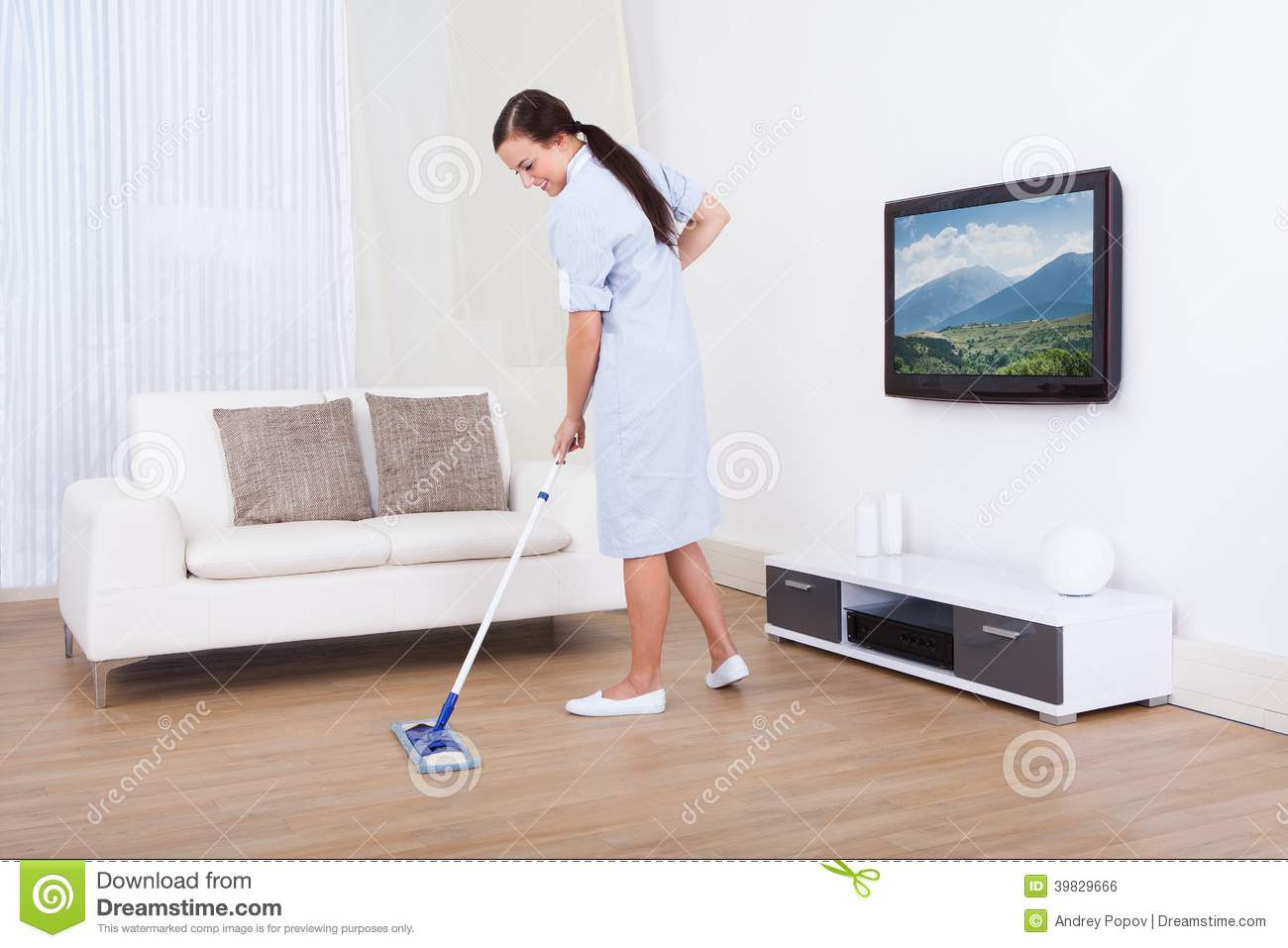 Maid Cleaning Floor With Mop Stock Photo Image 39829666