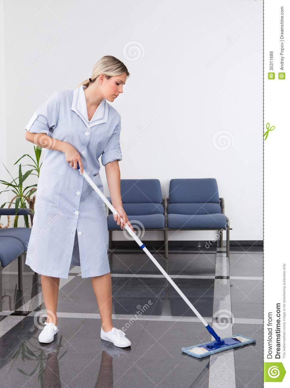 Maid Cleaning The Floor Stock Image Image Of Floor Broom