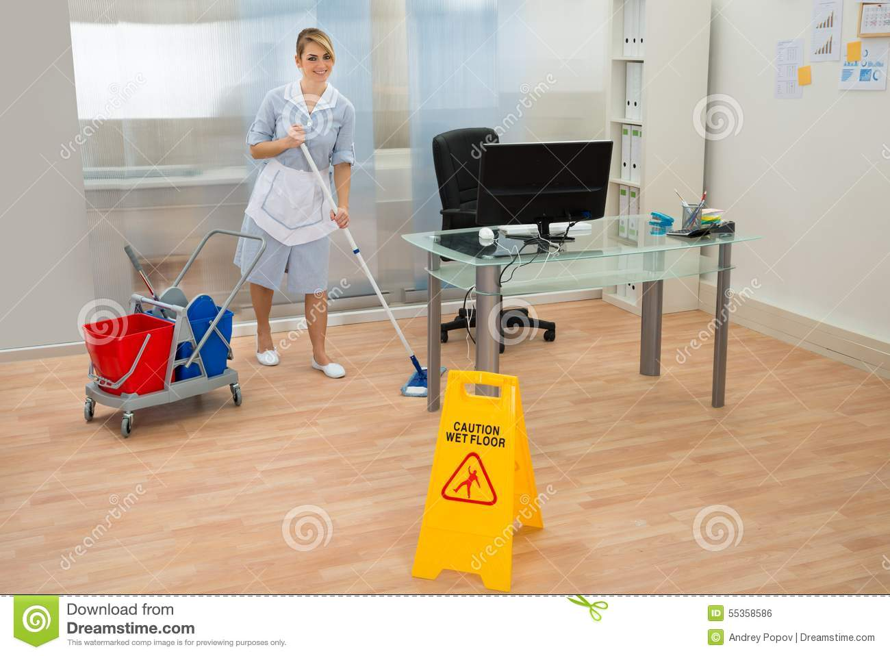 Maid Cleaning Floor In Office Stock Photo Image 55358586