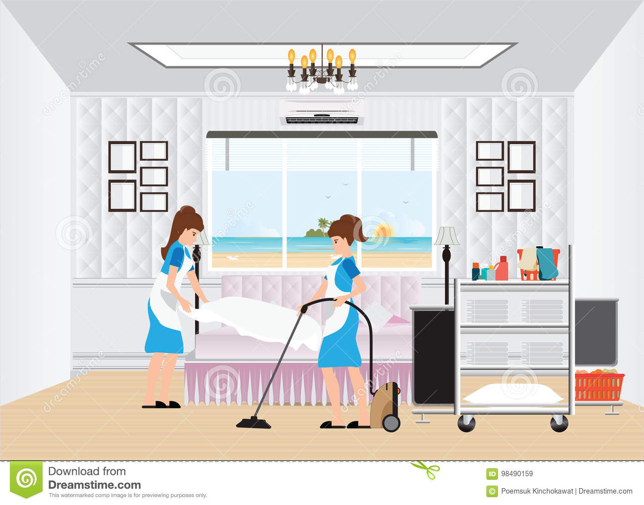 Maid Cleaning Hotel Room With Housekeeping Trolley. Stock Vector