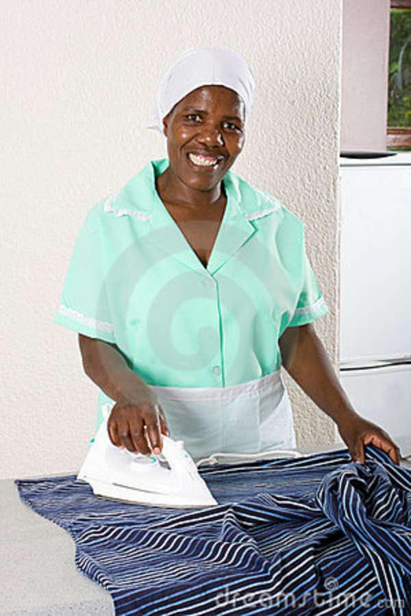 Maid Ironing Clothes Stock Image Image Of Board Home 12692451