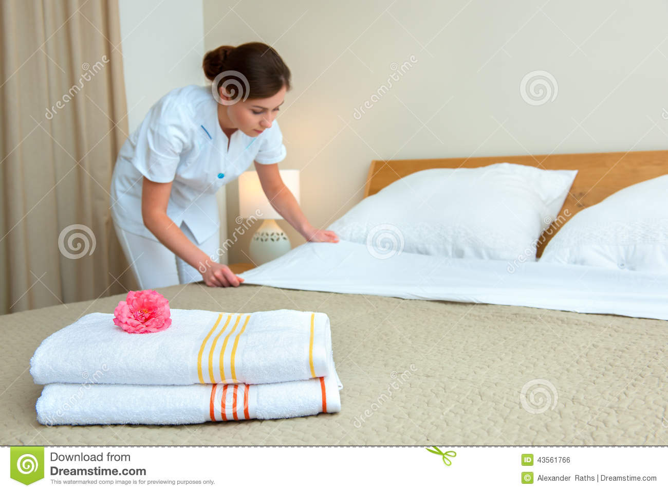 Maid Making Bed In Hotel Room Stock Photo Image 43561766
