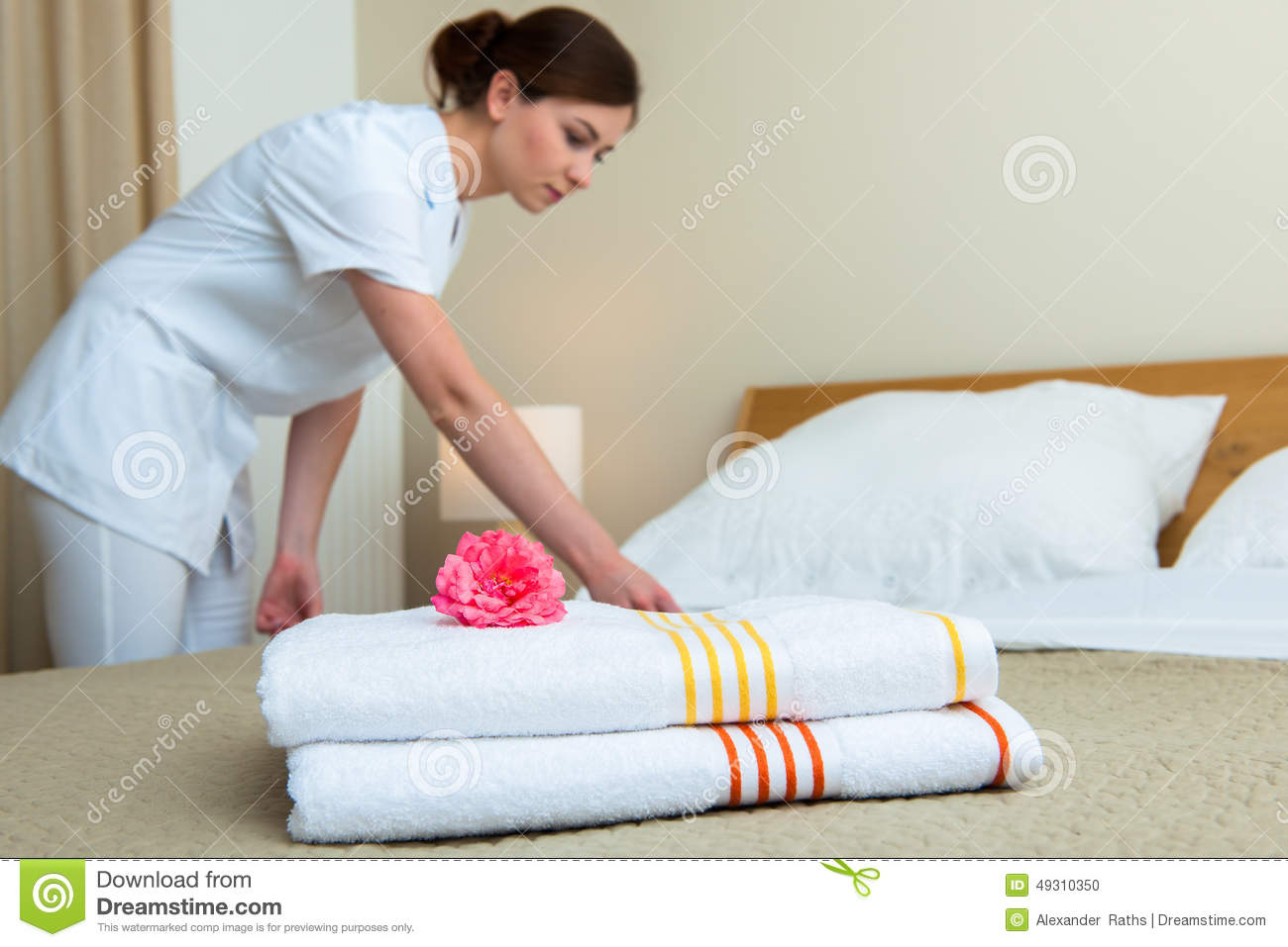 Maid Making Bed In Hotel Room Stock Photo Image 49310350