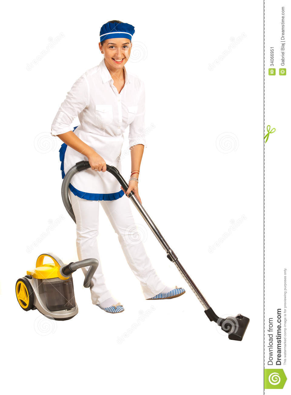 Maid With Vacuum Cleaner Stock Image Image 34066951