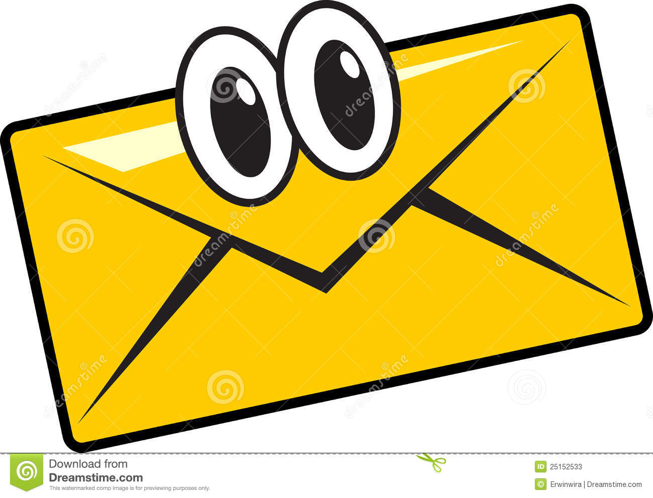 Illustration of funny cartoon mail character smile