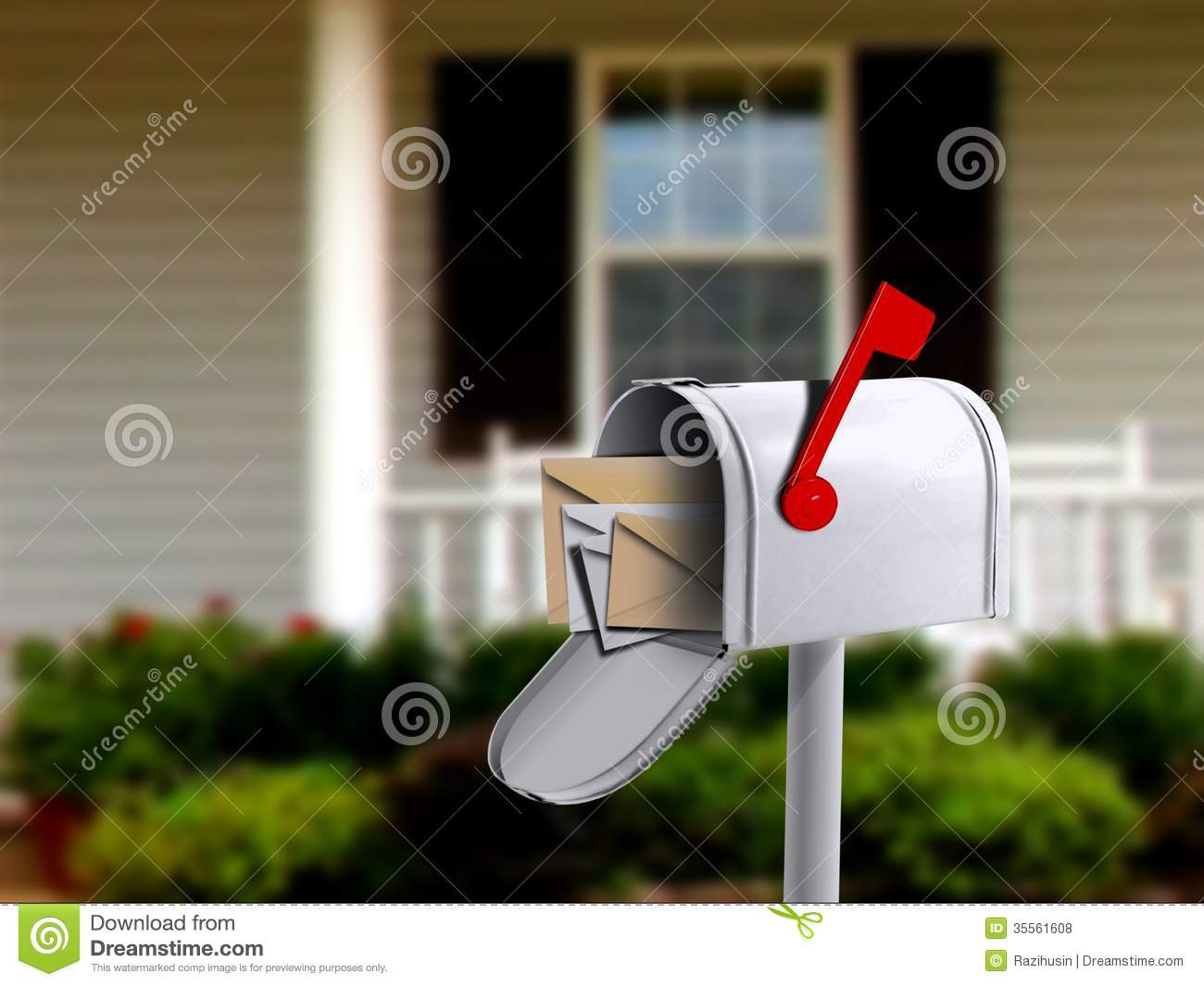 mail box in front of a house stock photo