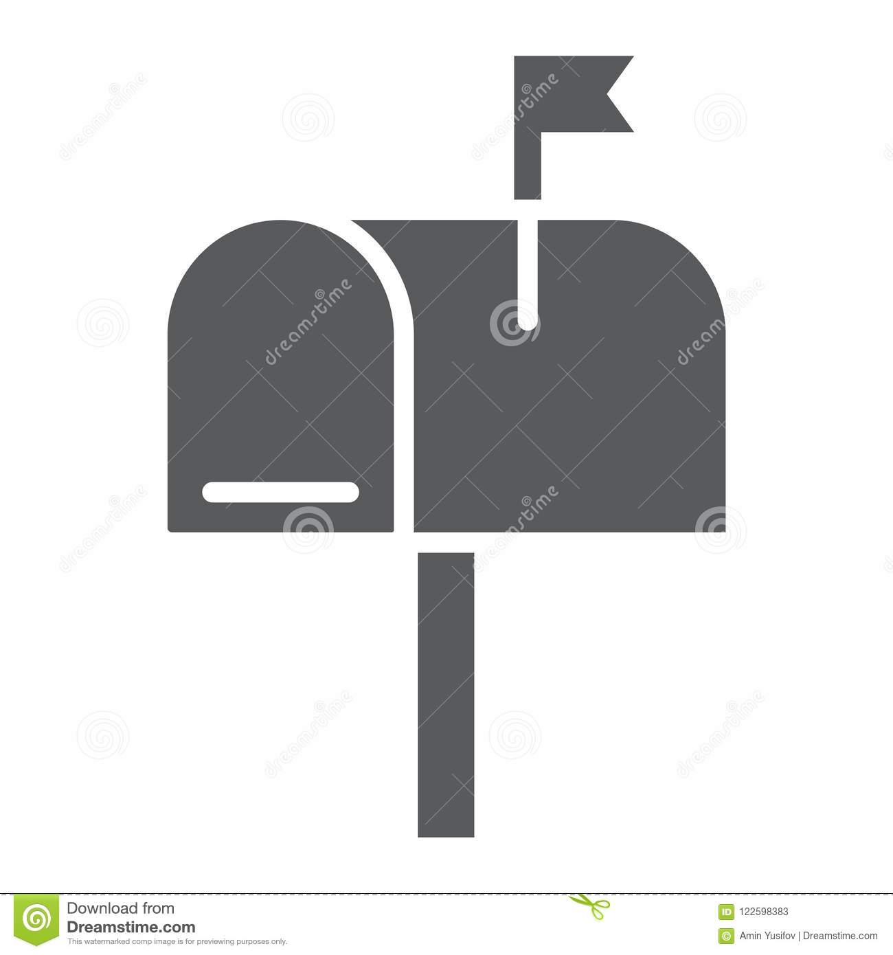 Mail box glyph icon, letter and post, mailbox sign
