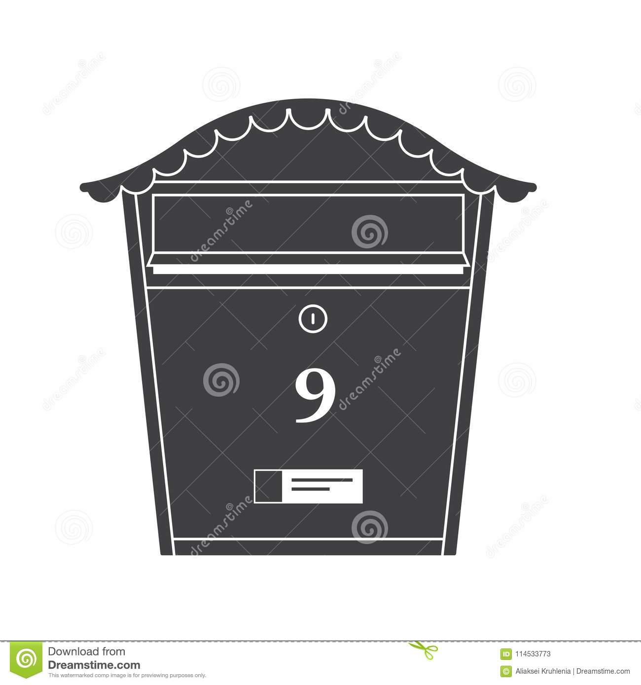 mail box outline icon stock vector illustration of mailing 114533773