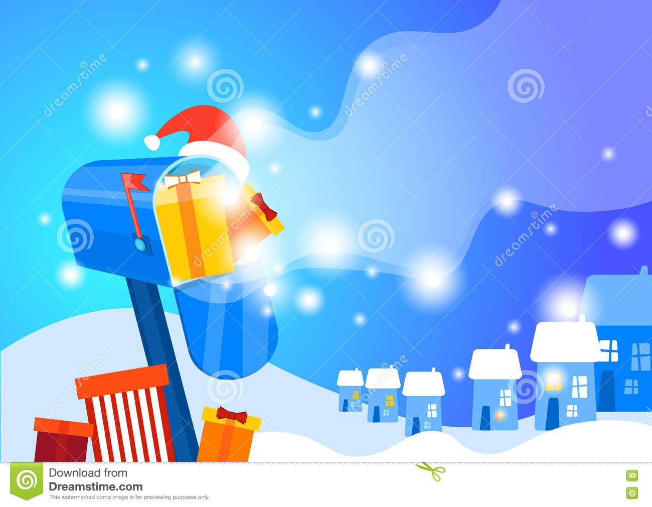 Mail box with present happy new year merry christmas greeting card download mail box with present happy new year merry christmas greeting card banner stock vector m4hsunfo