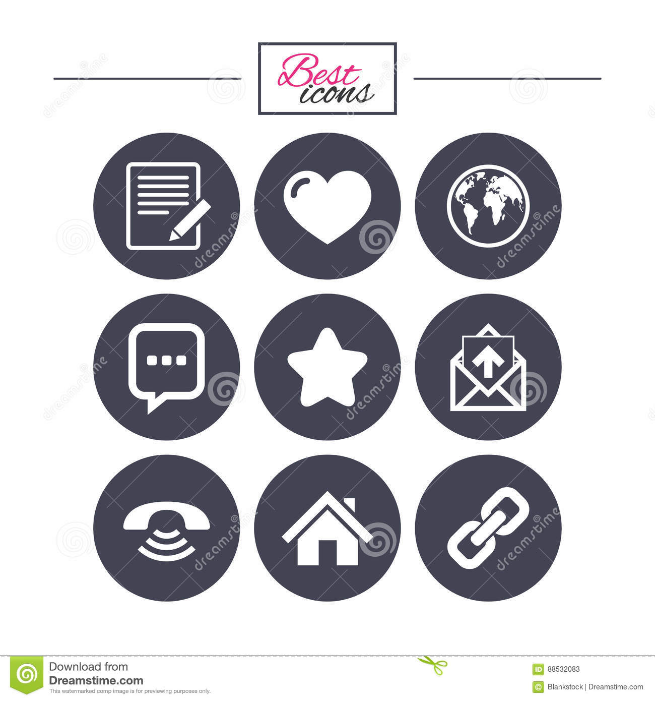Mail Contact Icons Communication Signs Stock Vector
