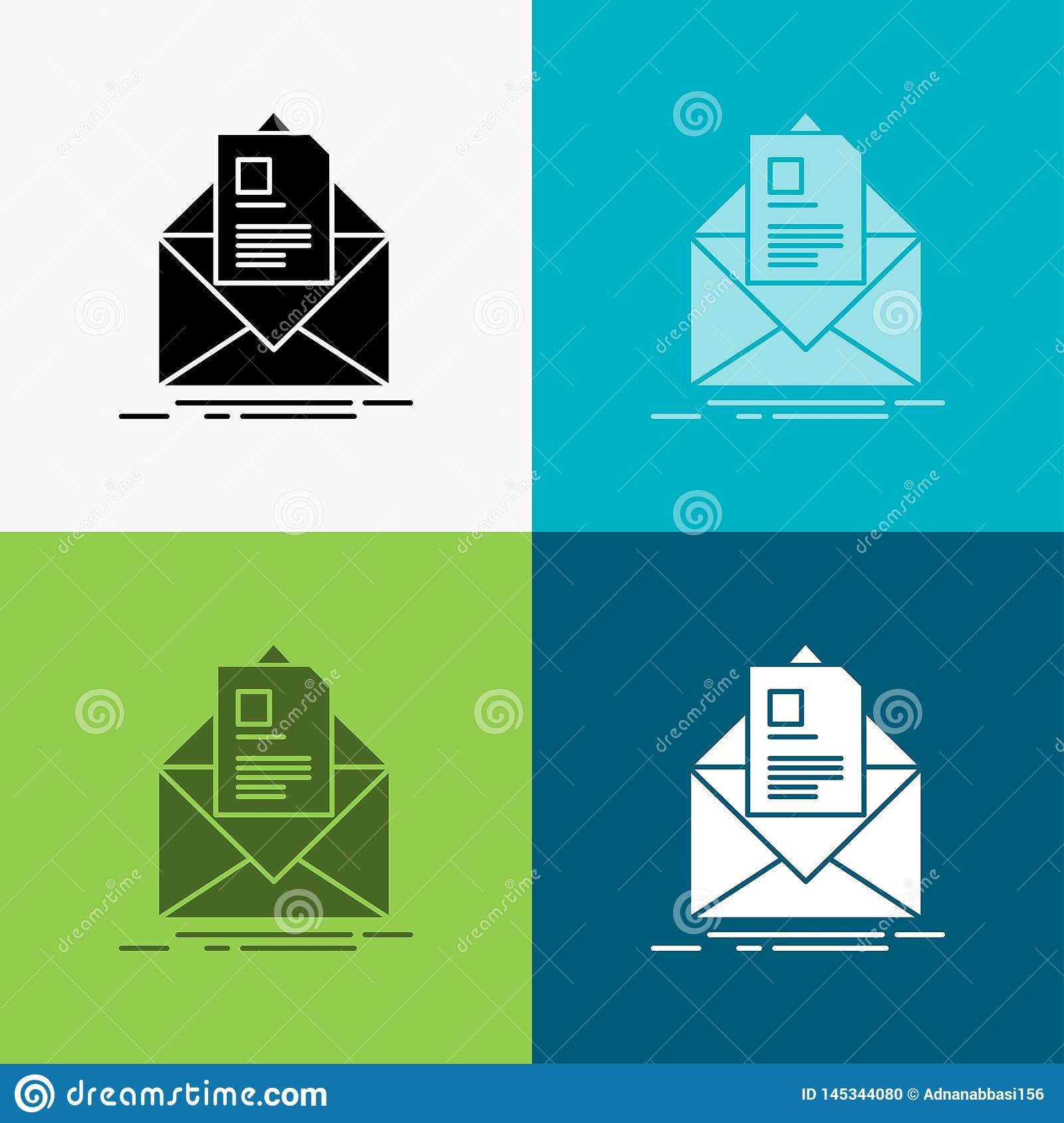 mail, contract, letter, email, briefing Icon Over Various Background. glyph style design, designed for web and app. Eps 10 vector