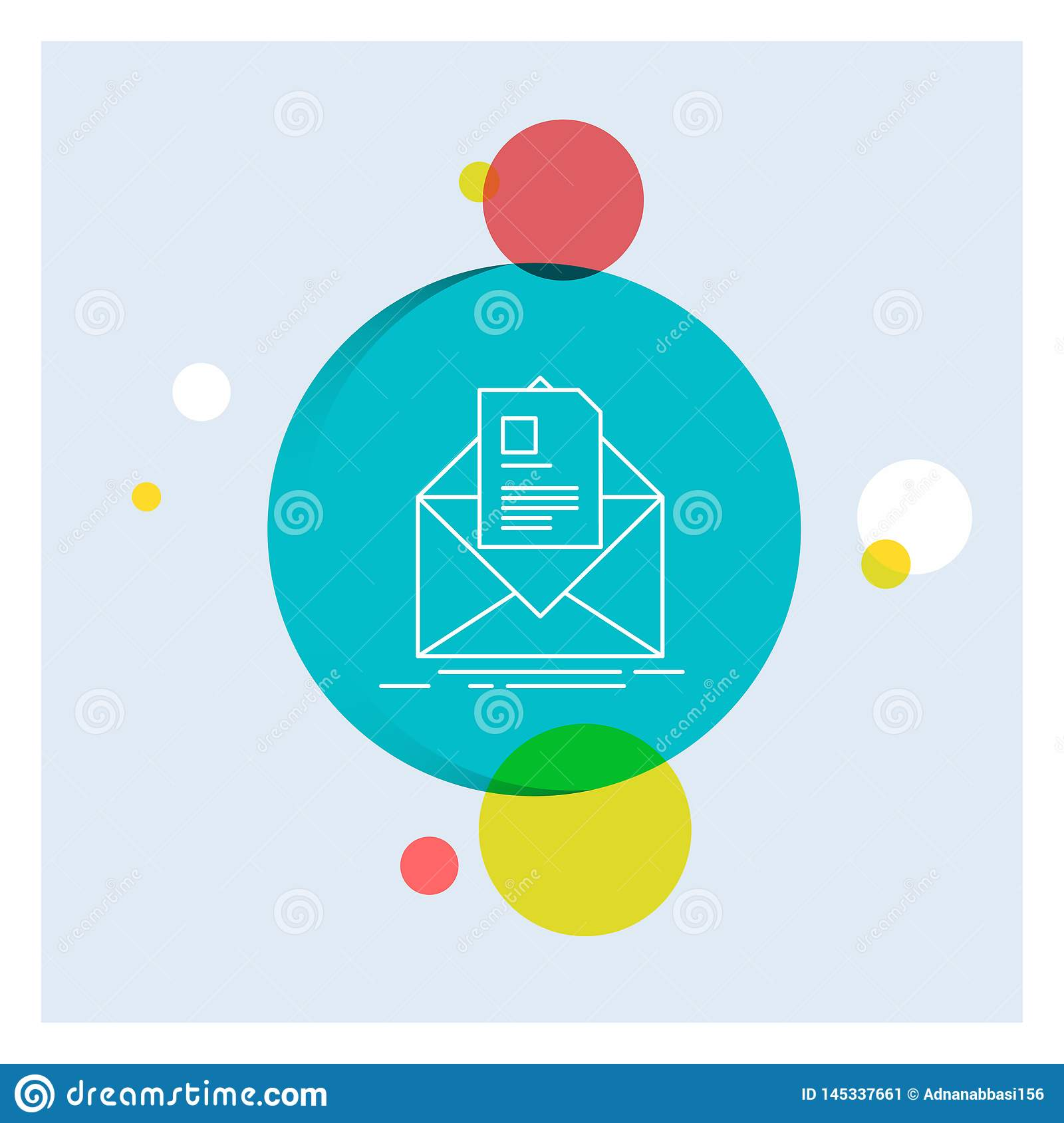mail, contract, letter, email, briefing White Line Icon colorful Circle Background