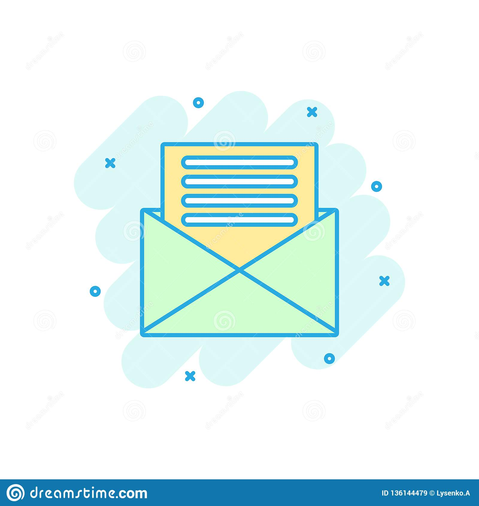 Mail envelope icon in comic style. Email message vector cartoon illustration pictogram. Mailbox e-mail business concept splash