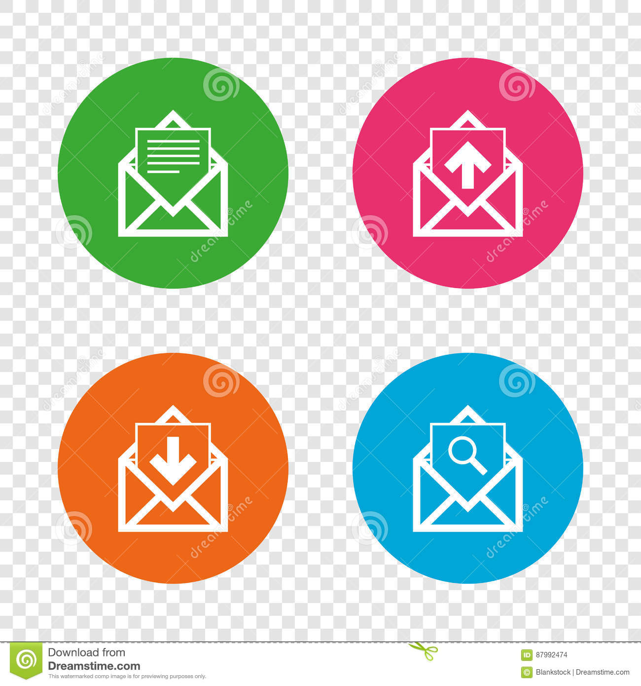 Mail Envelope Icons Message Document Symbols Stock Vector