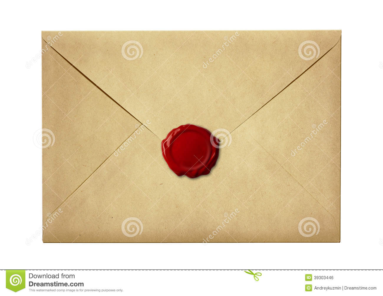 Mail Envelope Or Letter Sealed With Wax Seal Stamp Stock