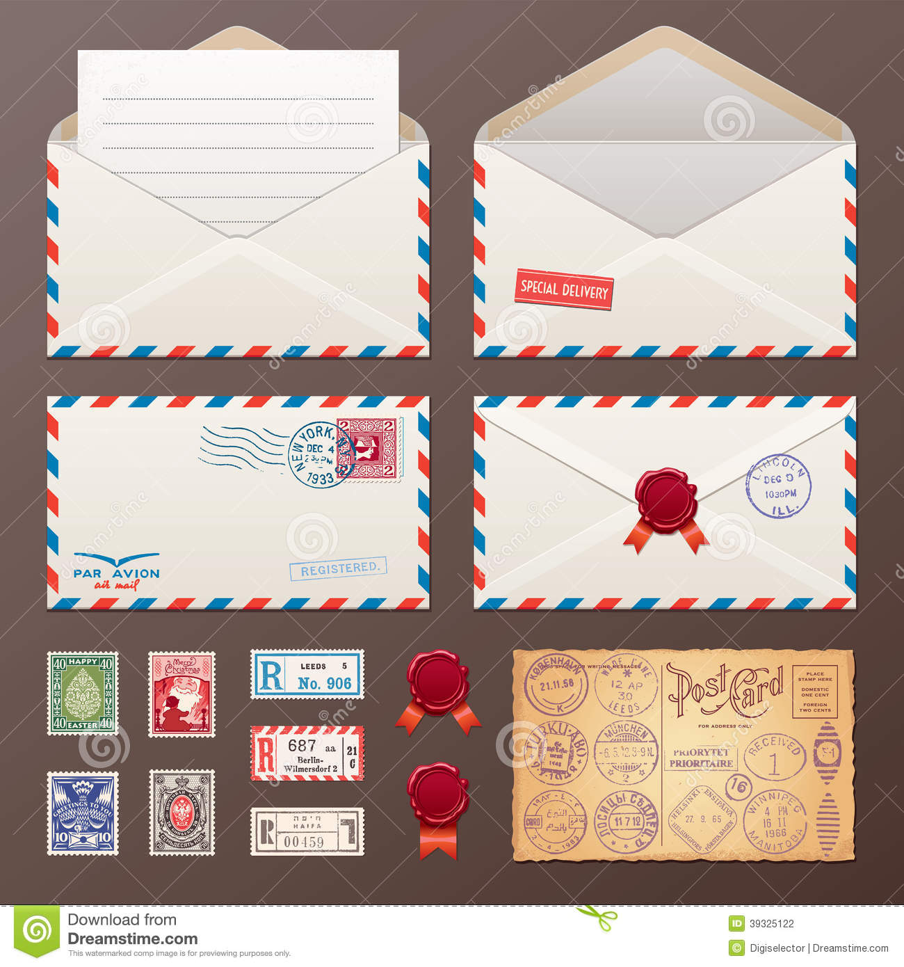 ... Envelope, Stickers, Stamps, Postcard Stock Vector - Image: 39325122