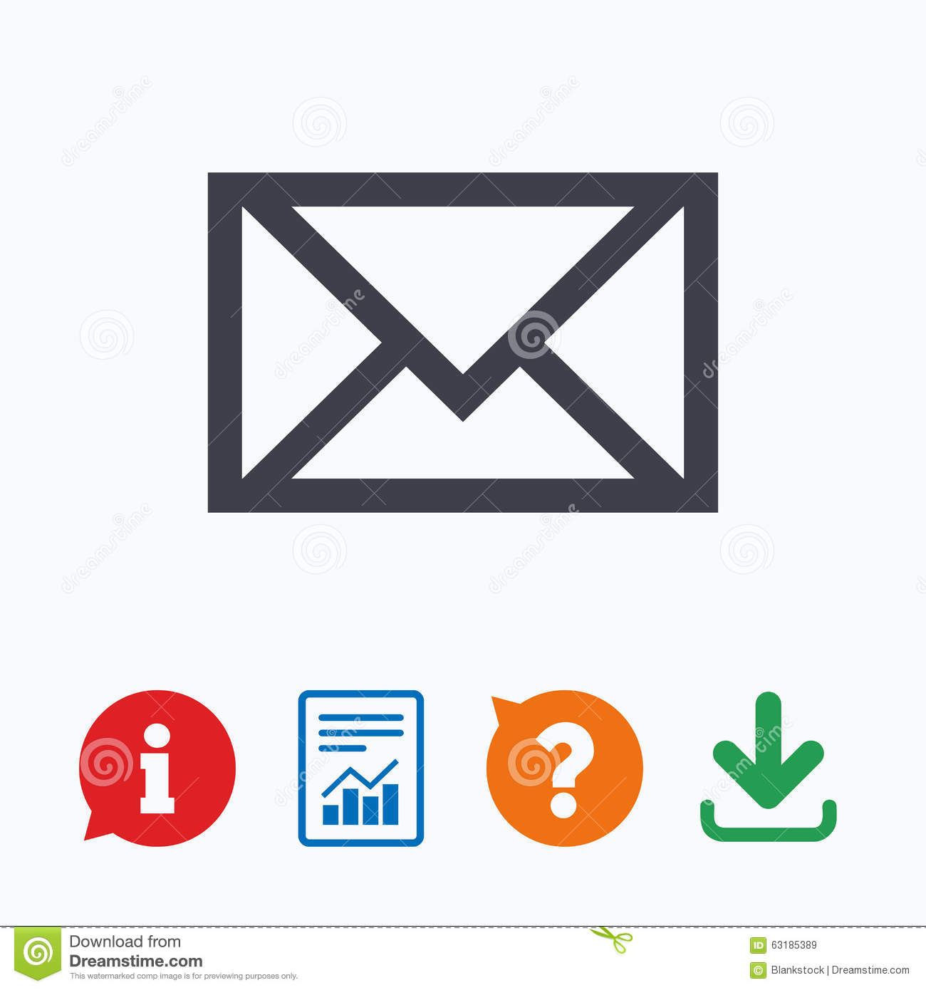 Mail icon. Envelope symbol. Message sign