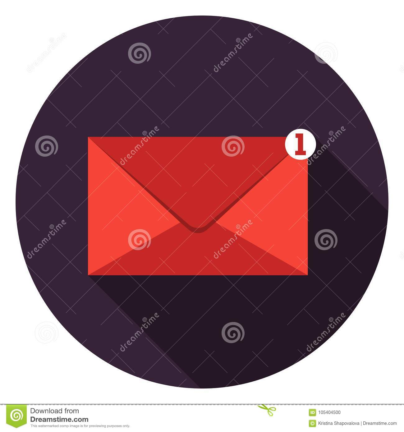 Mail icon in flat design.