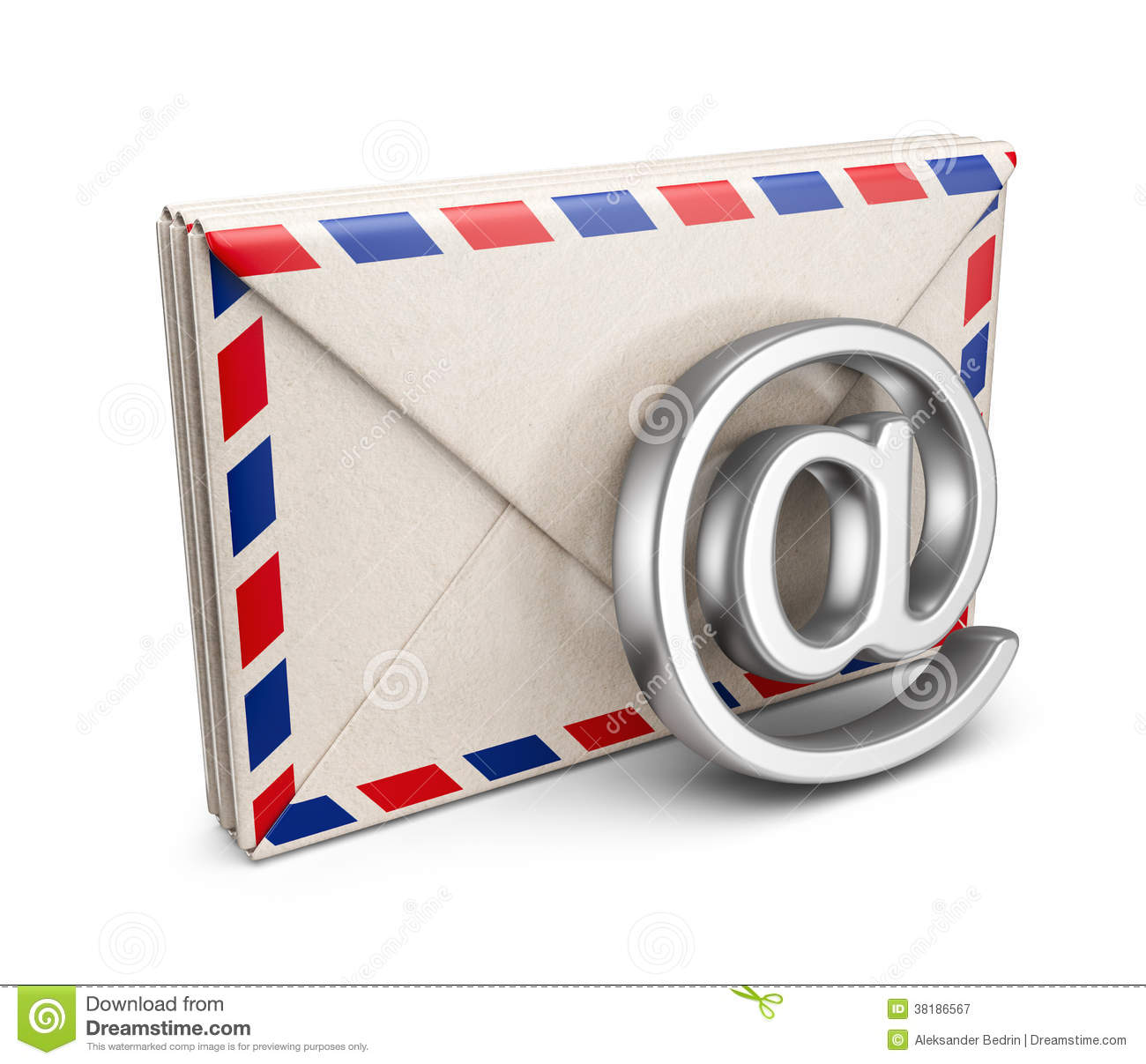 Mail Letter With E Mail Symbol 3d Icon Isolated Royalty
