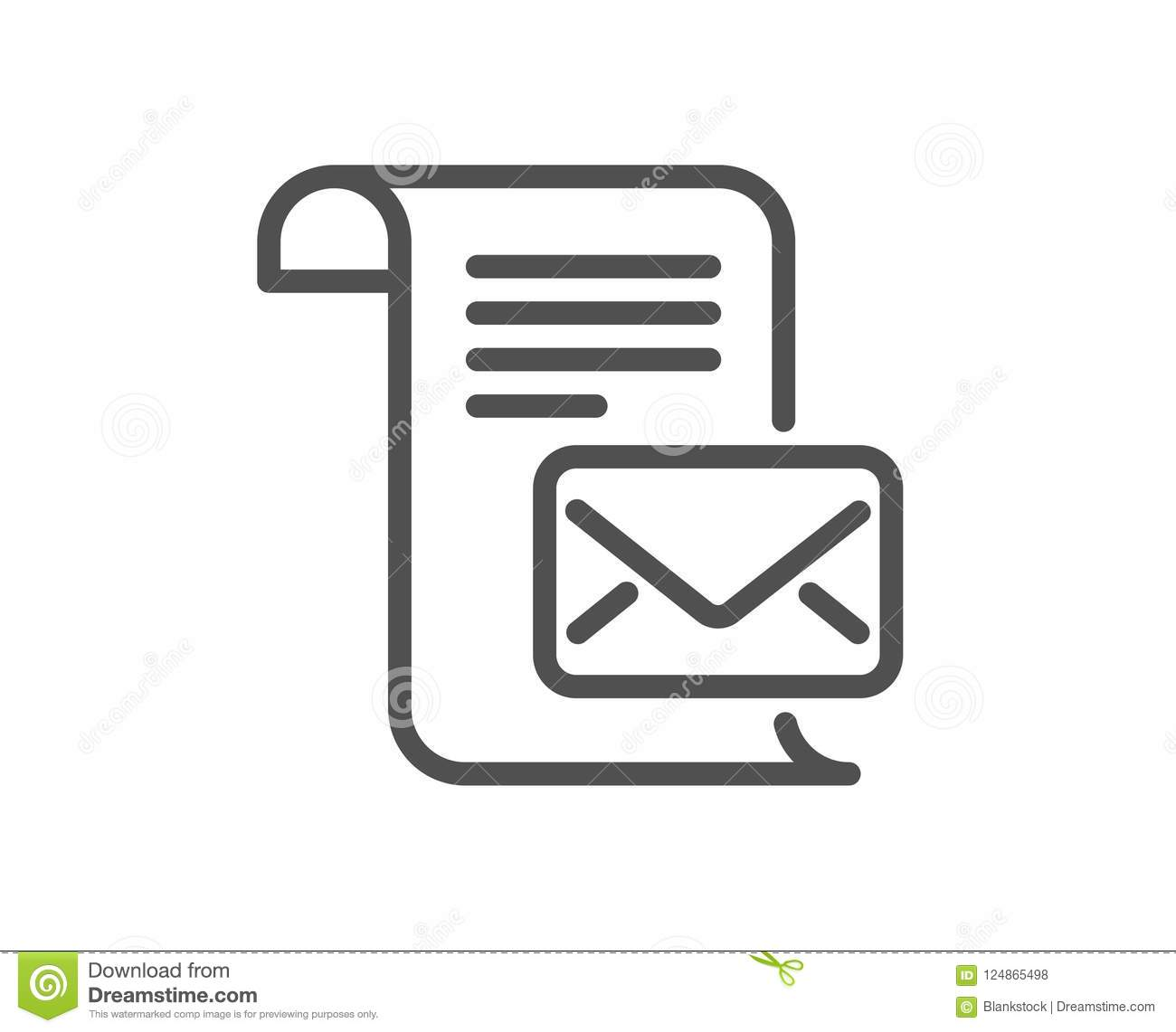 mail letter line icon. read message correspondence sign. stock