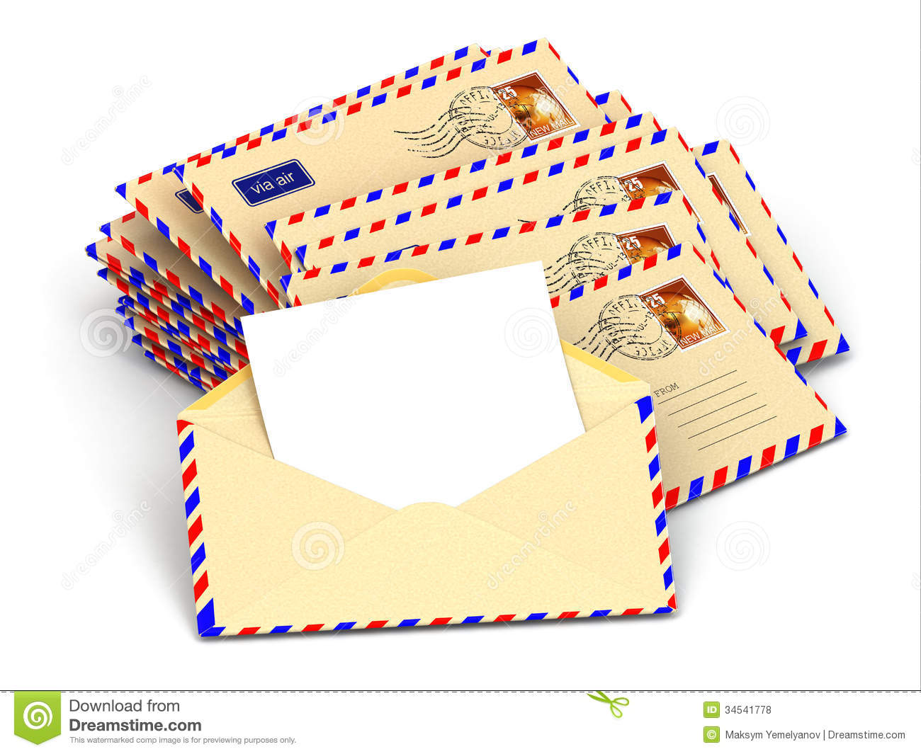 Mail Stack Of Envelopes And Empty Letters Stock Illustration