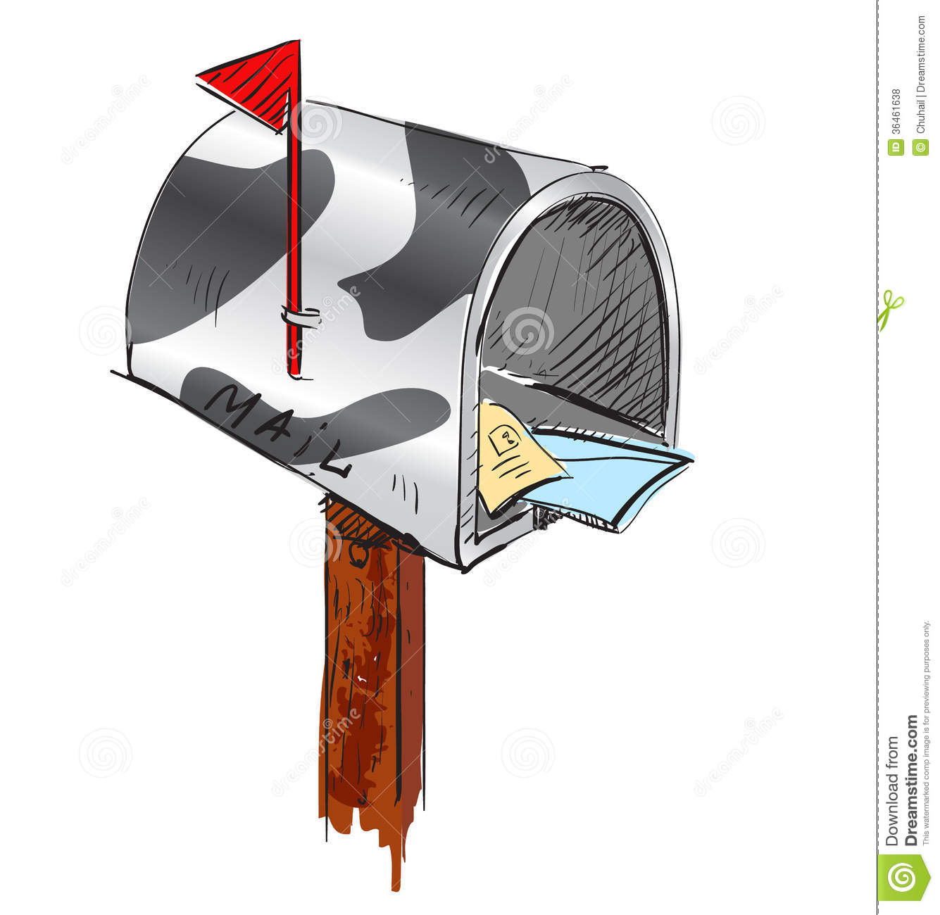 Mailbox cartoon icon. Sketch fast pencil hand drawing illustration in ...