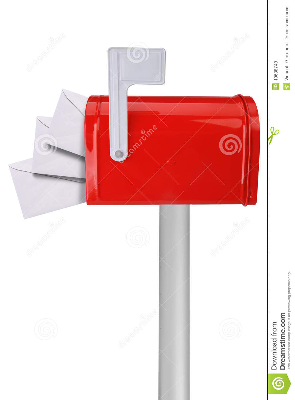 Mailbox With Flag And Envelopes Royalty Free Stock Images - Image ...